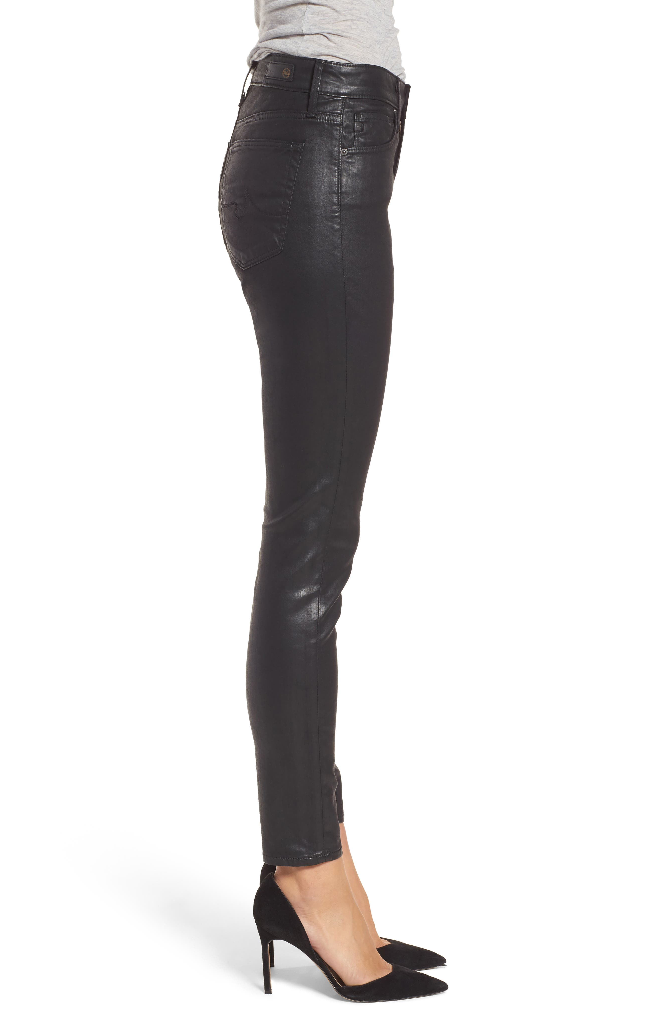Farrah High Waist Ankle Skinny Jeans,                             Alternate thumbnail 3, color,                             Leatherette Super Black