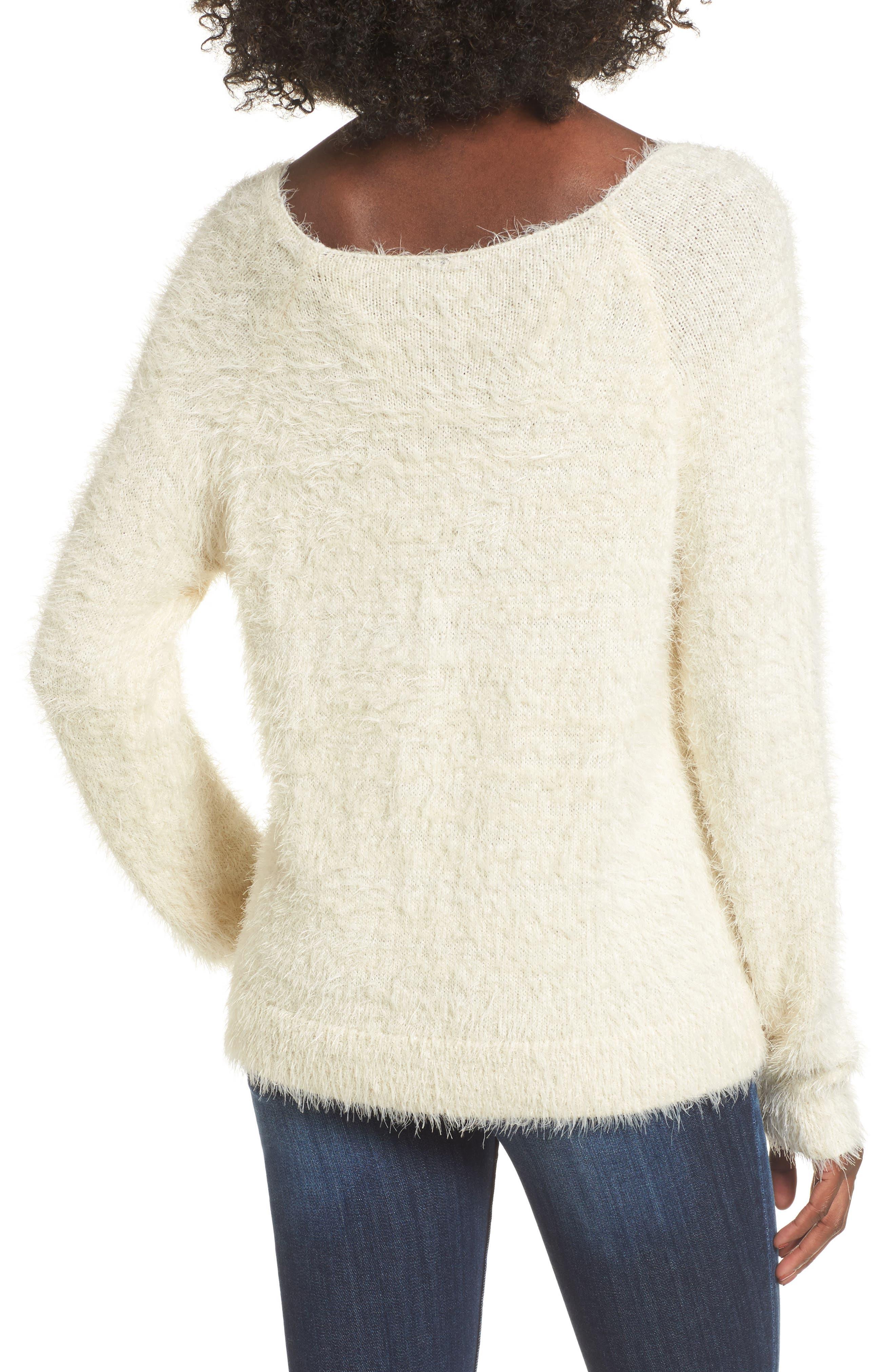 Eyelash Sweater,                             Alternate thumbnail 2, color,                             Ivory