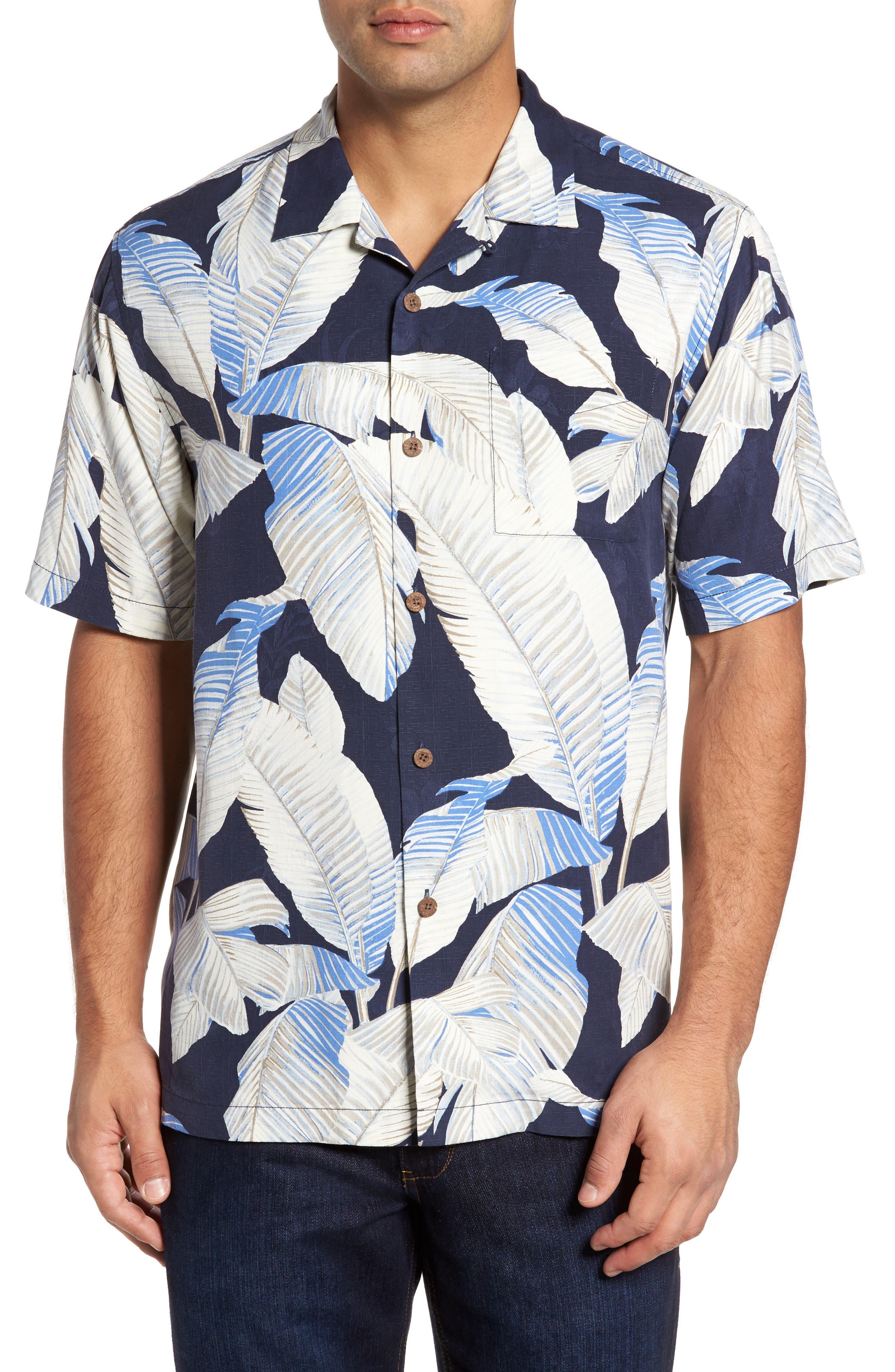 Cascara Fronds Silk Camp Shirt,                         Main,                         color, Ocean Deep