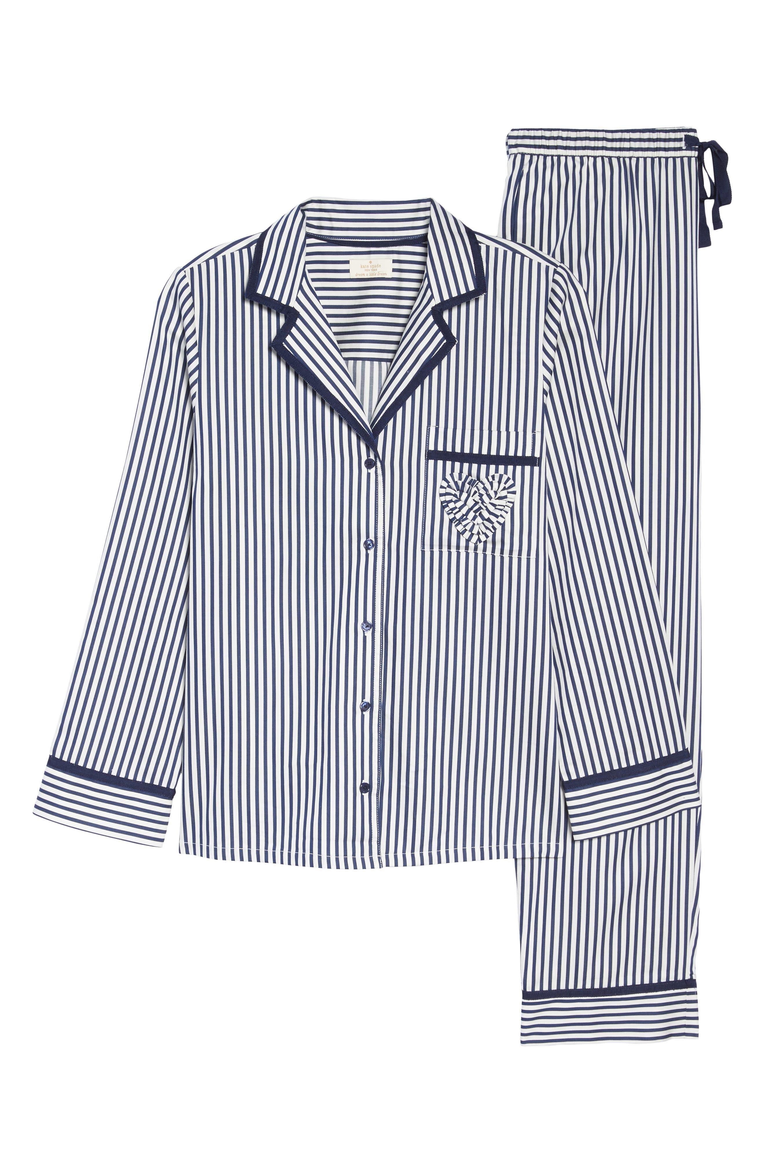 stripe pajamas,                             Alternate thumbnail 6, color,                             Navy Stripe