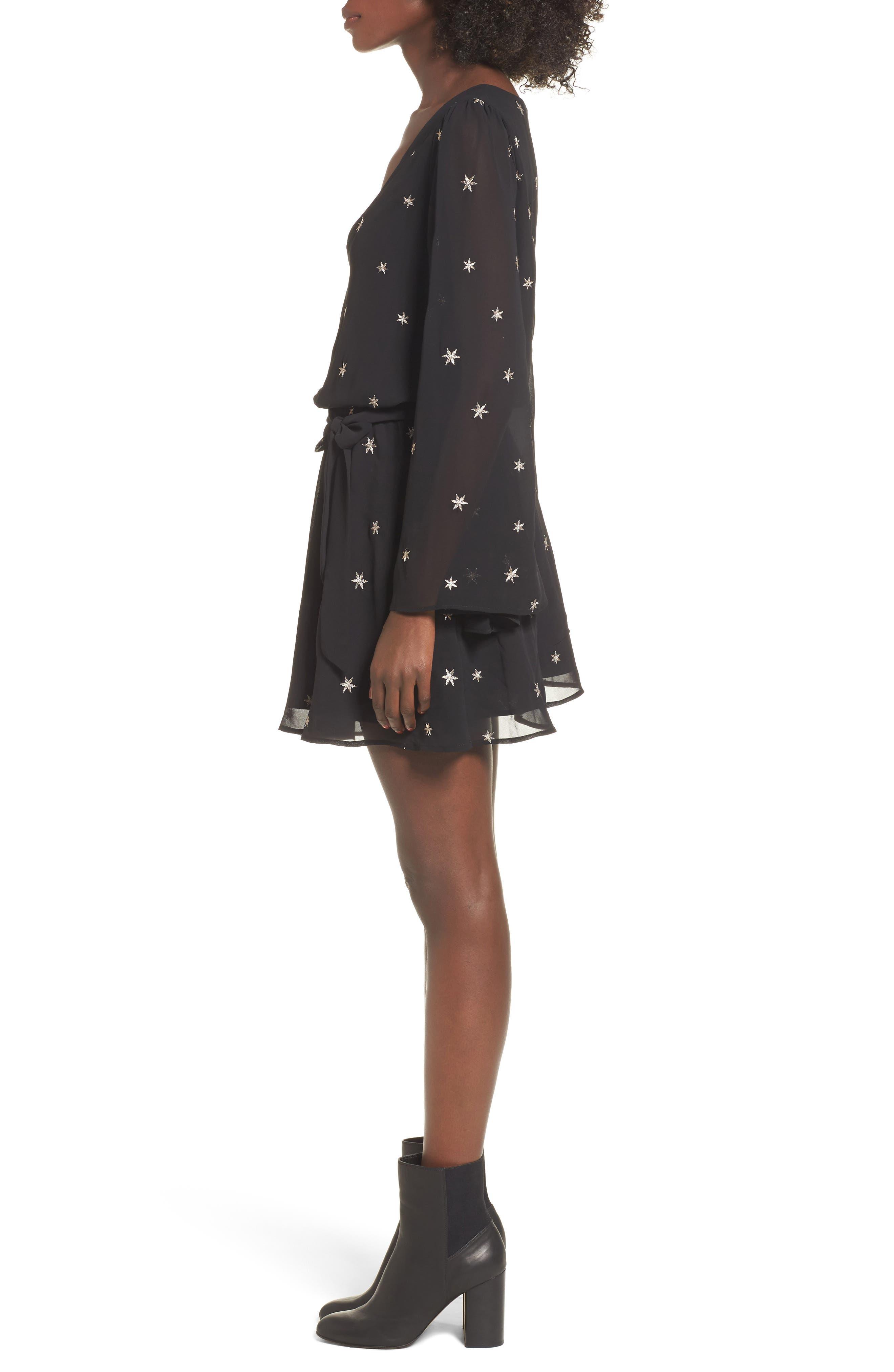 Lila Blouson Dress,                             Alternate thumbnail 3, color,                             Night/ Gold