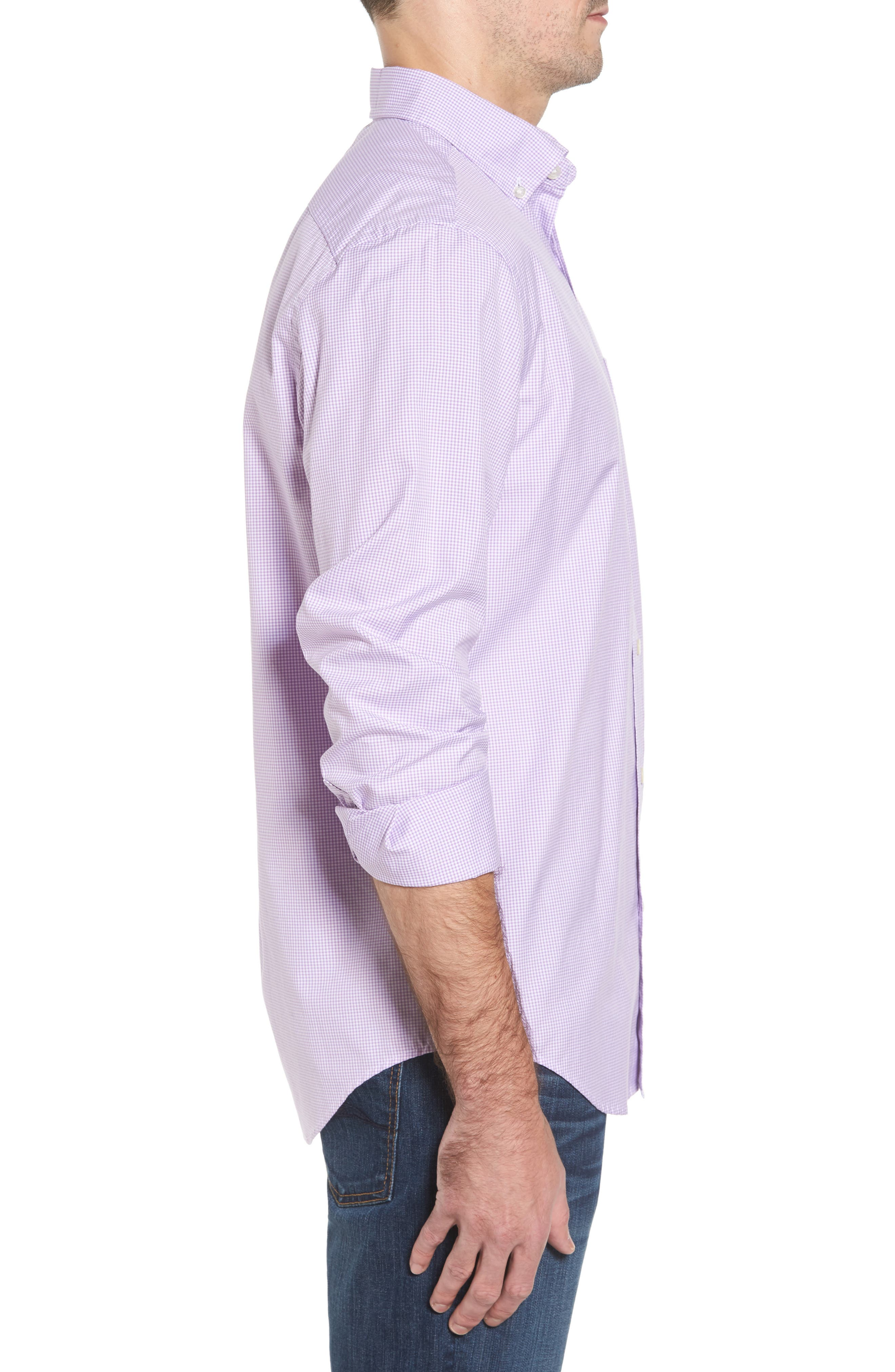 Seaboard Classic Fit Gingham Sport Shirt,                             Alternate thumbnail 3, color,                             Sea Urchin