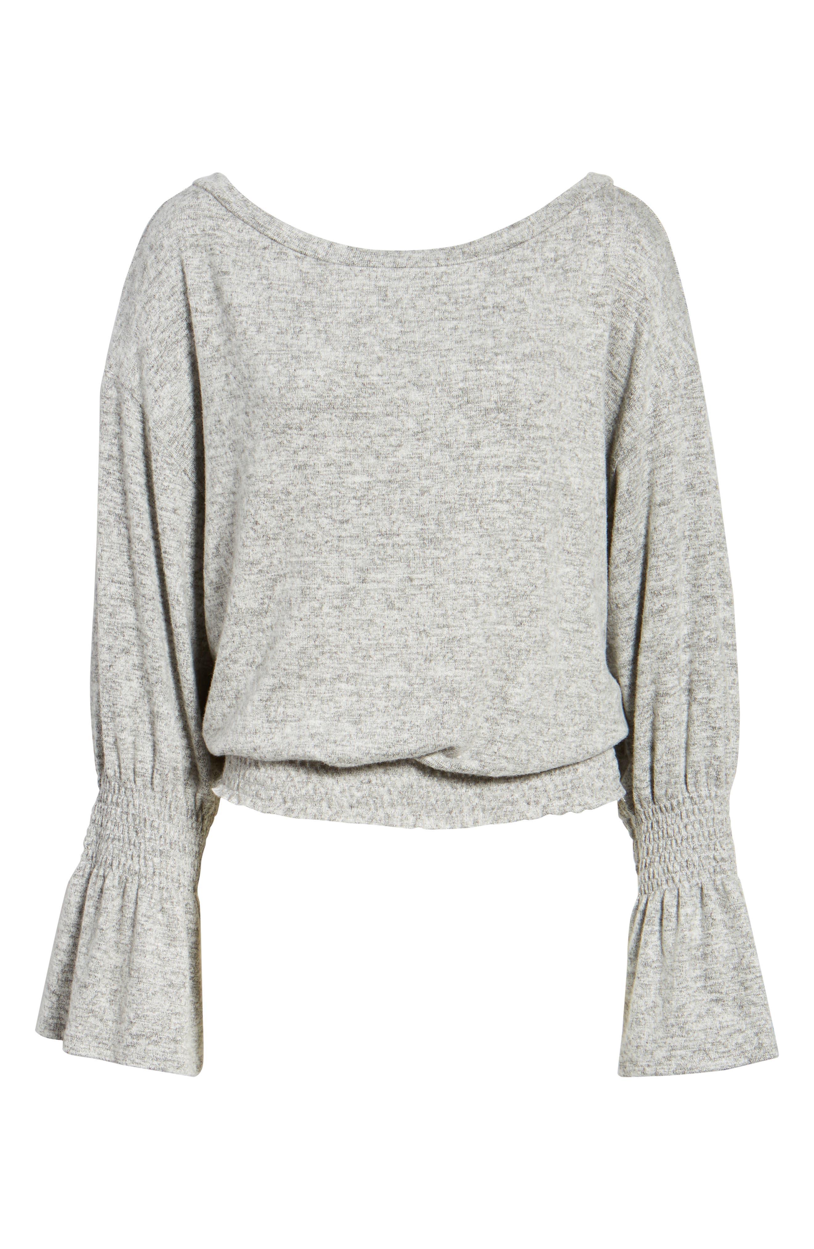 Brushed Smocked Sweatshirt,                             Alternate thumbnail 6, color,                             Grey Heather
