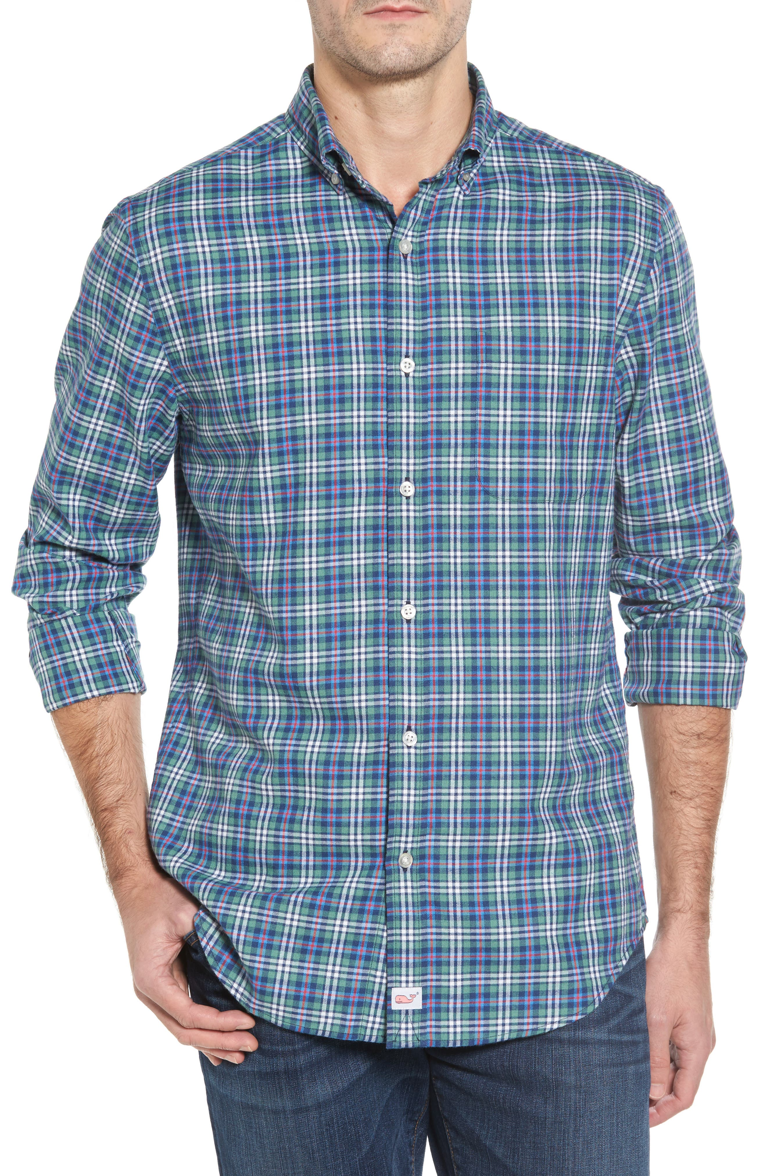 Murray Plaid Classic Fit Sport Shirt,                         Main,                         color, Turf Green
