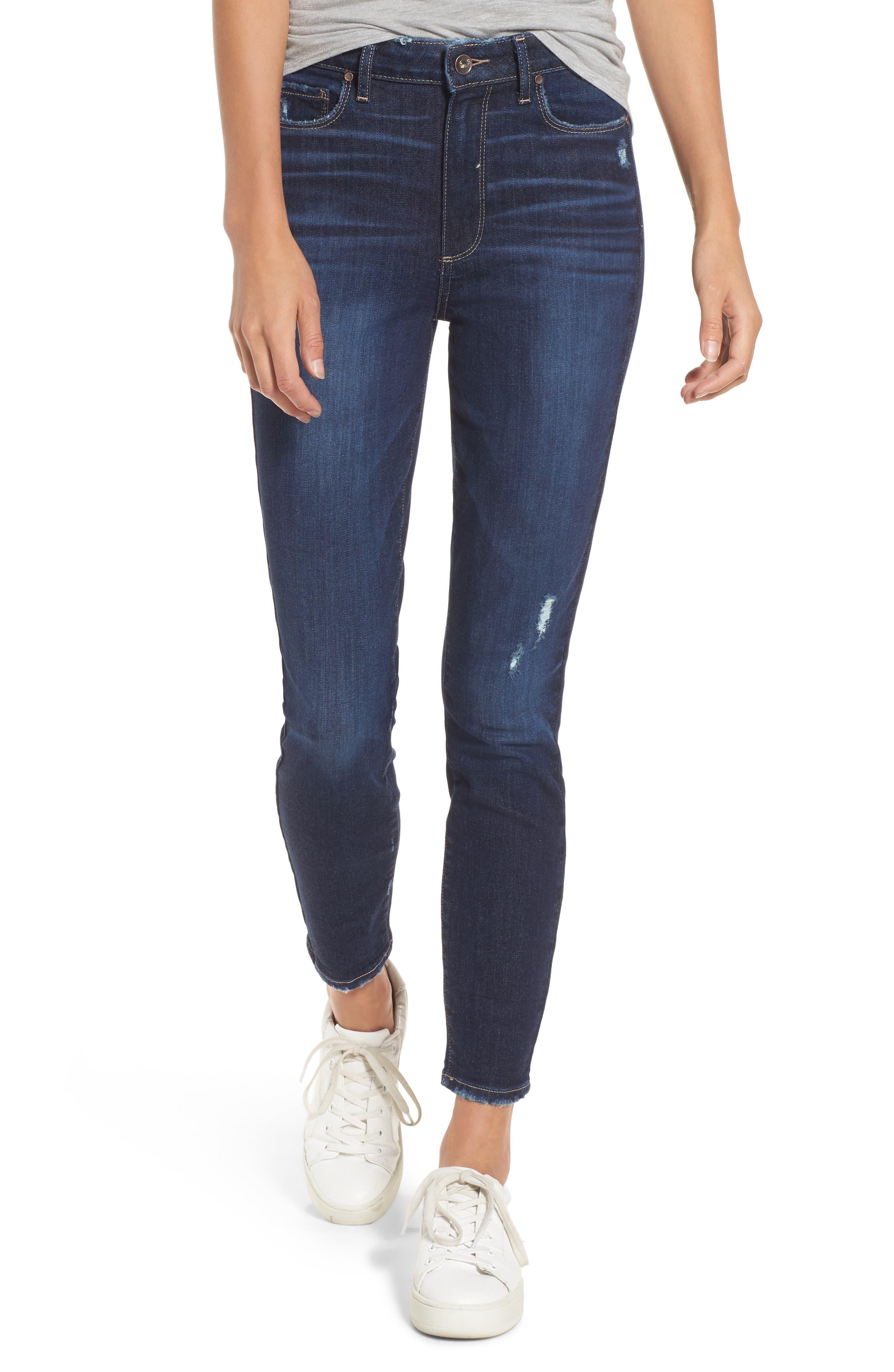 Margot High Waist Ankle Skinny Jeans,                             Main thumbnail 1, color,                             Davidson Destructed