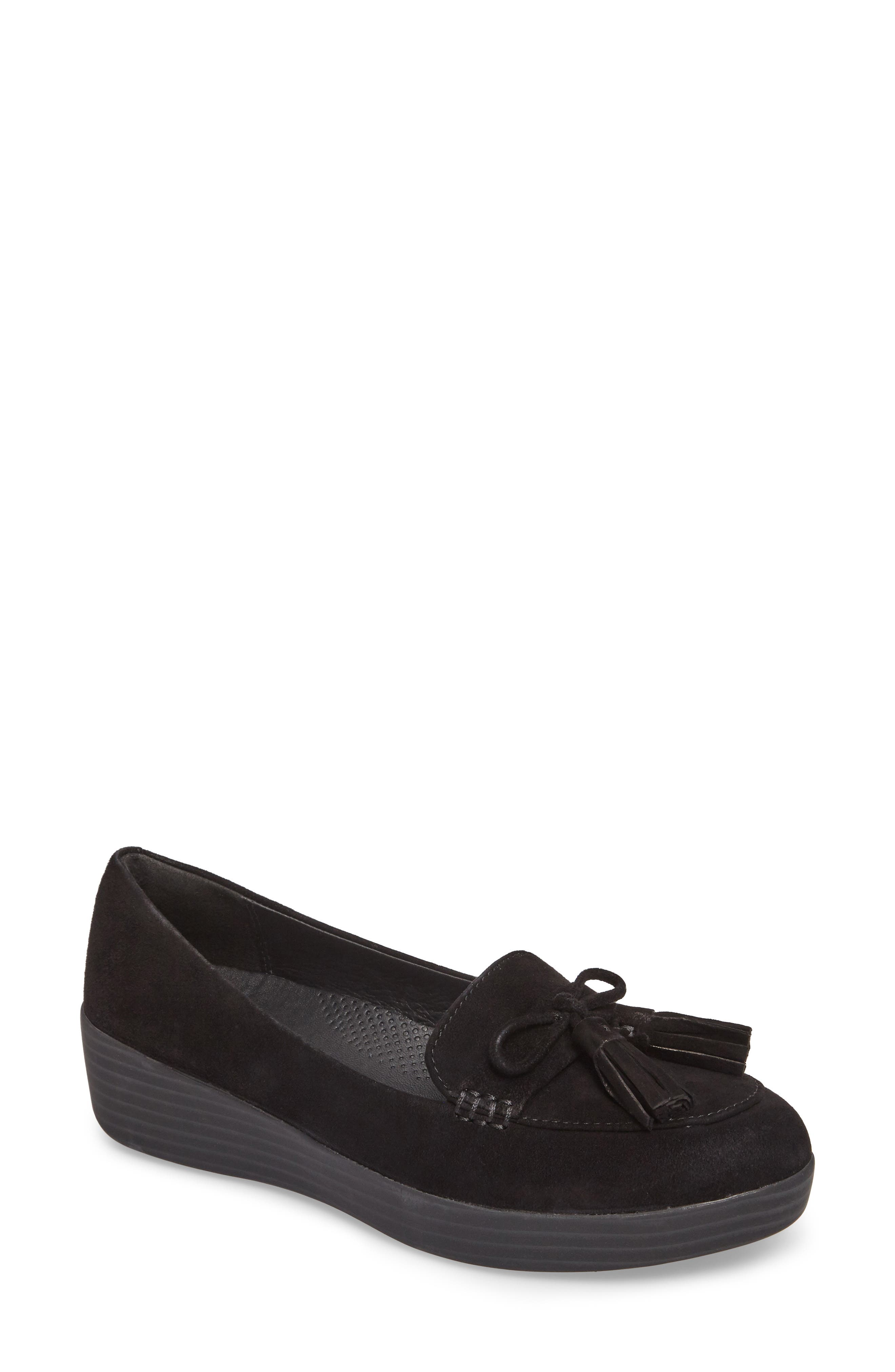 Tassel Bow Sneakerloafer<sup>™</sup> Water Repellent Flat,                             Main thumbnail 1, color,                             All Black