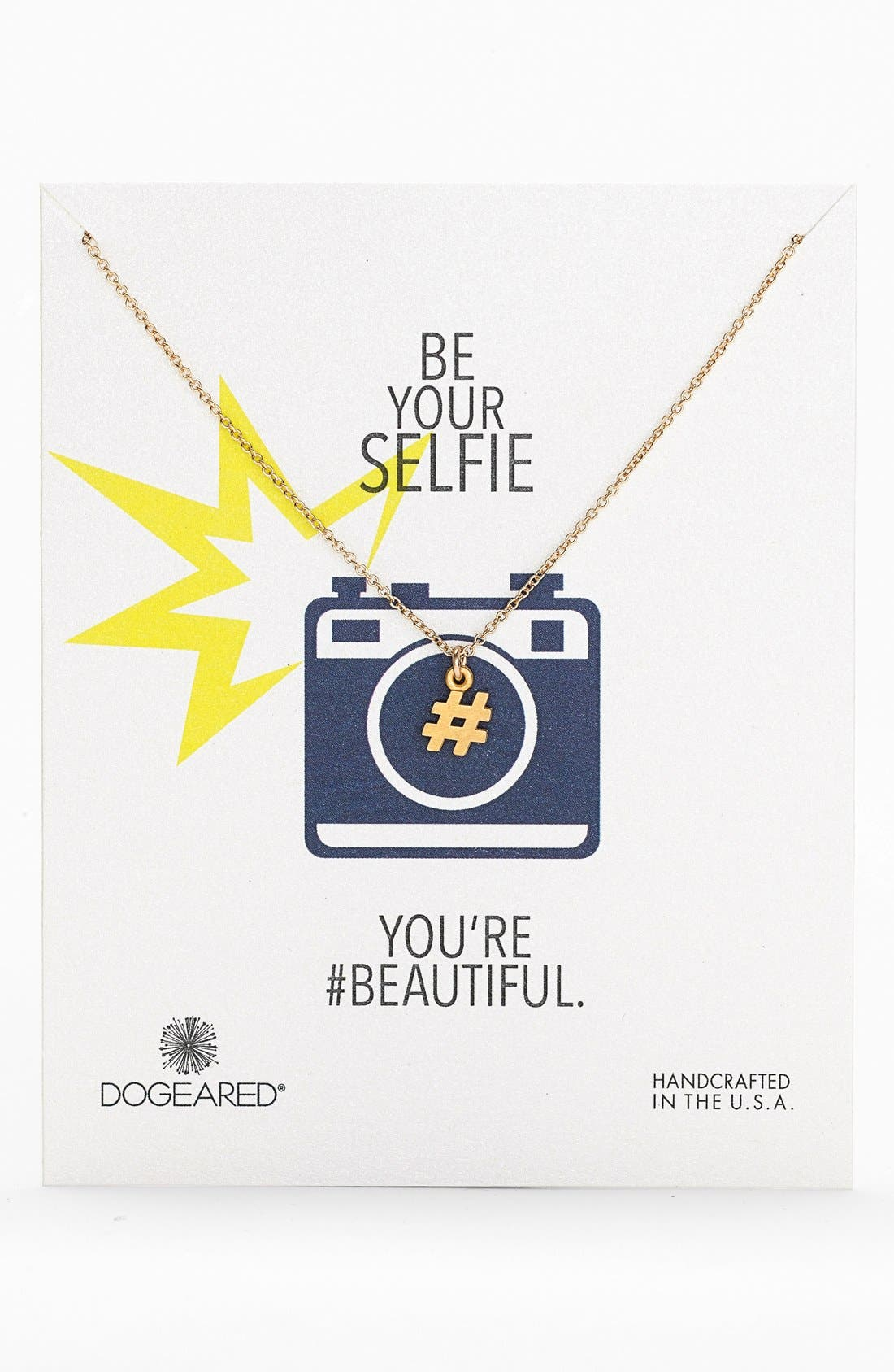 Main Image - Dogeared 'Reminder - Be Your Selfie' Hashtag Pendant Necklace (Nordstrom Exclusive)