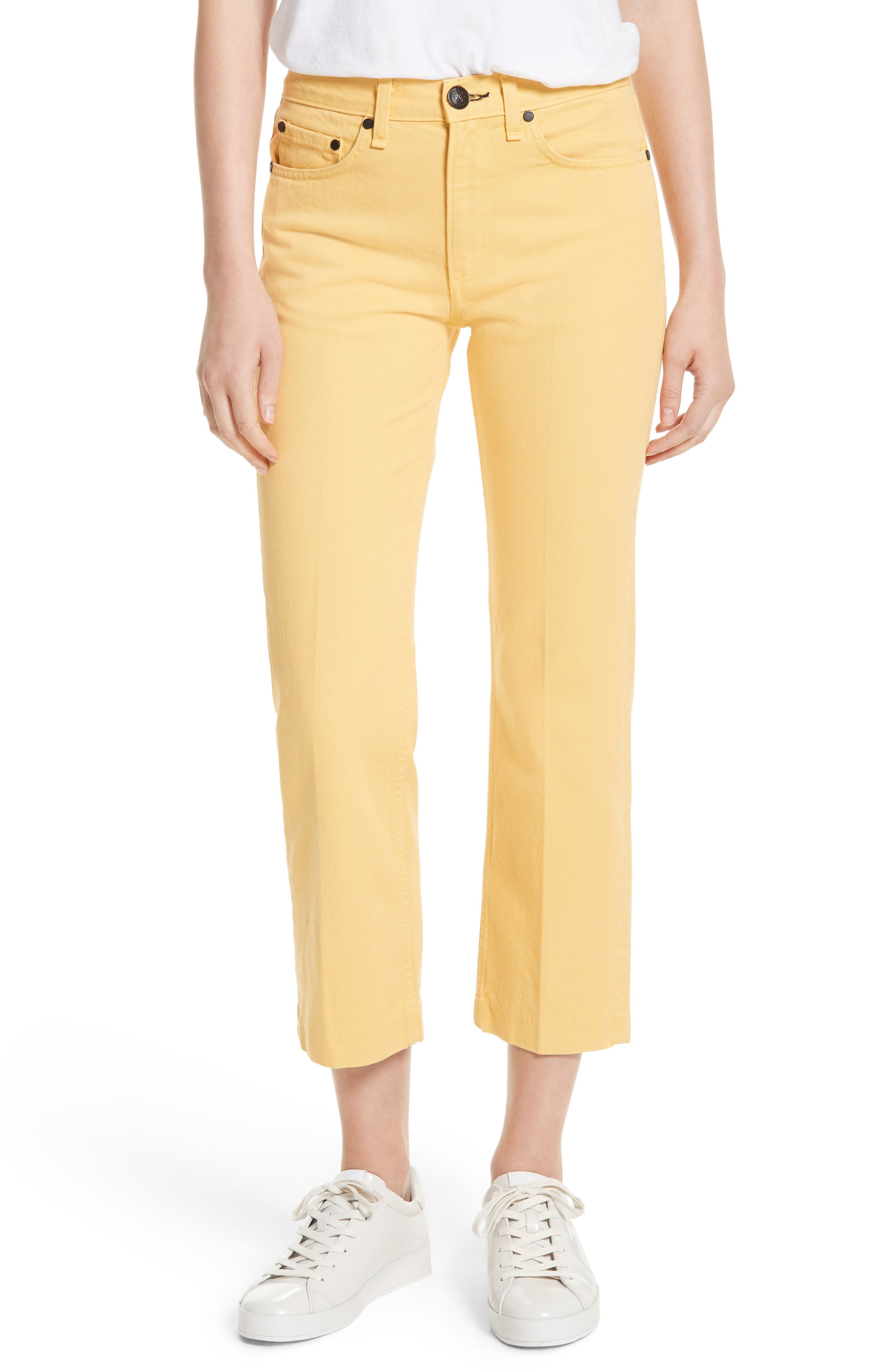 Alternate Image 1 Selected - rag & bone/JEAN Straight Leg Crop Jeans (Sunrise)