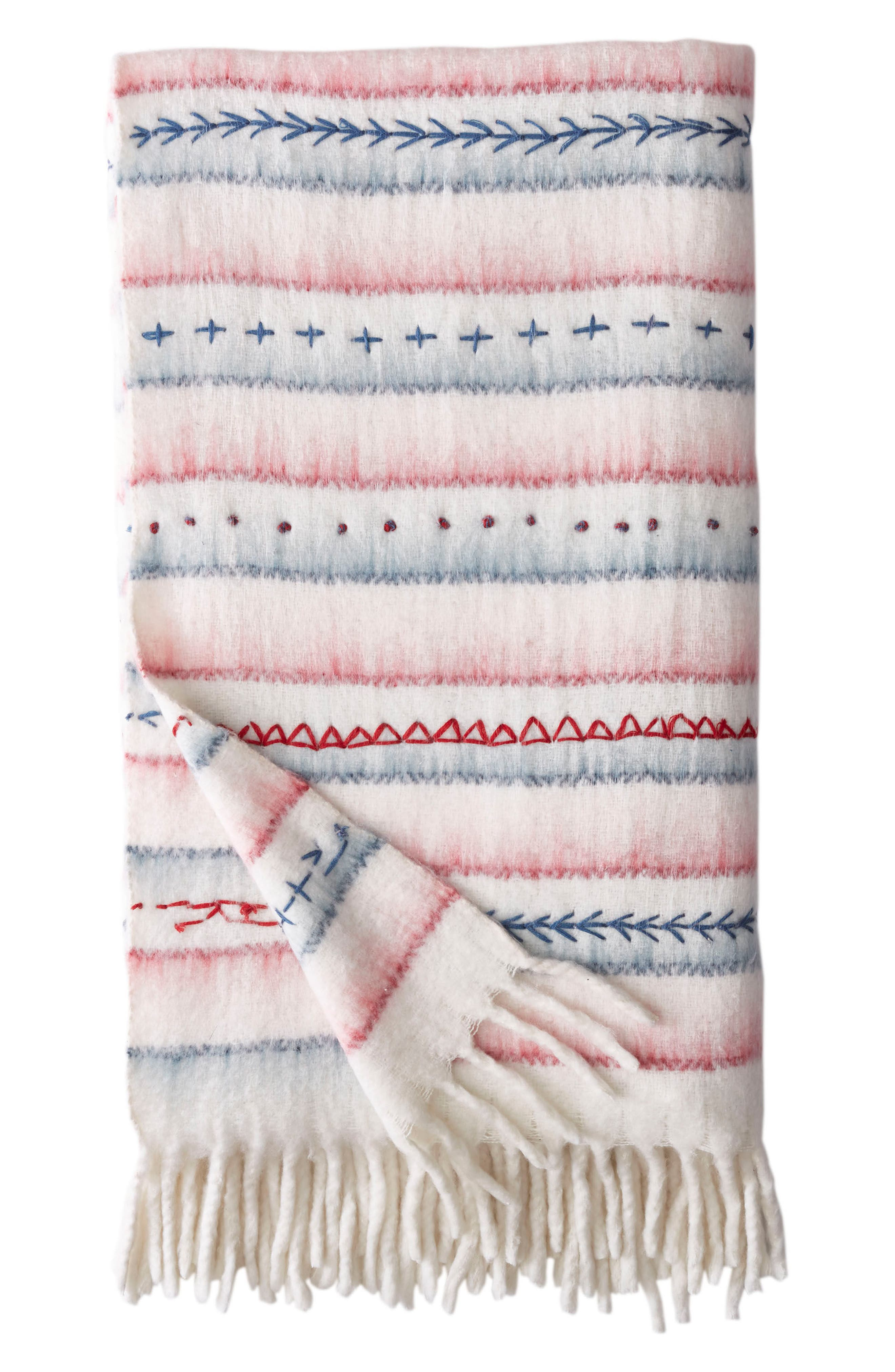 American Dream Throw Blanket,                             Main thumbnail 1, color,                             Cream Multi