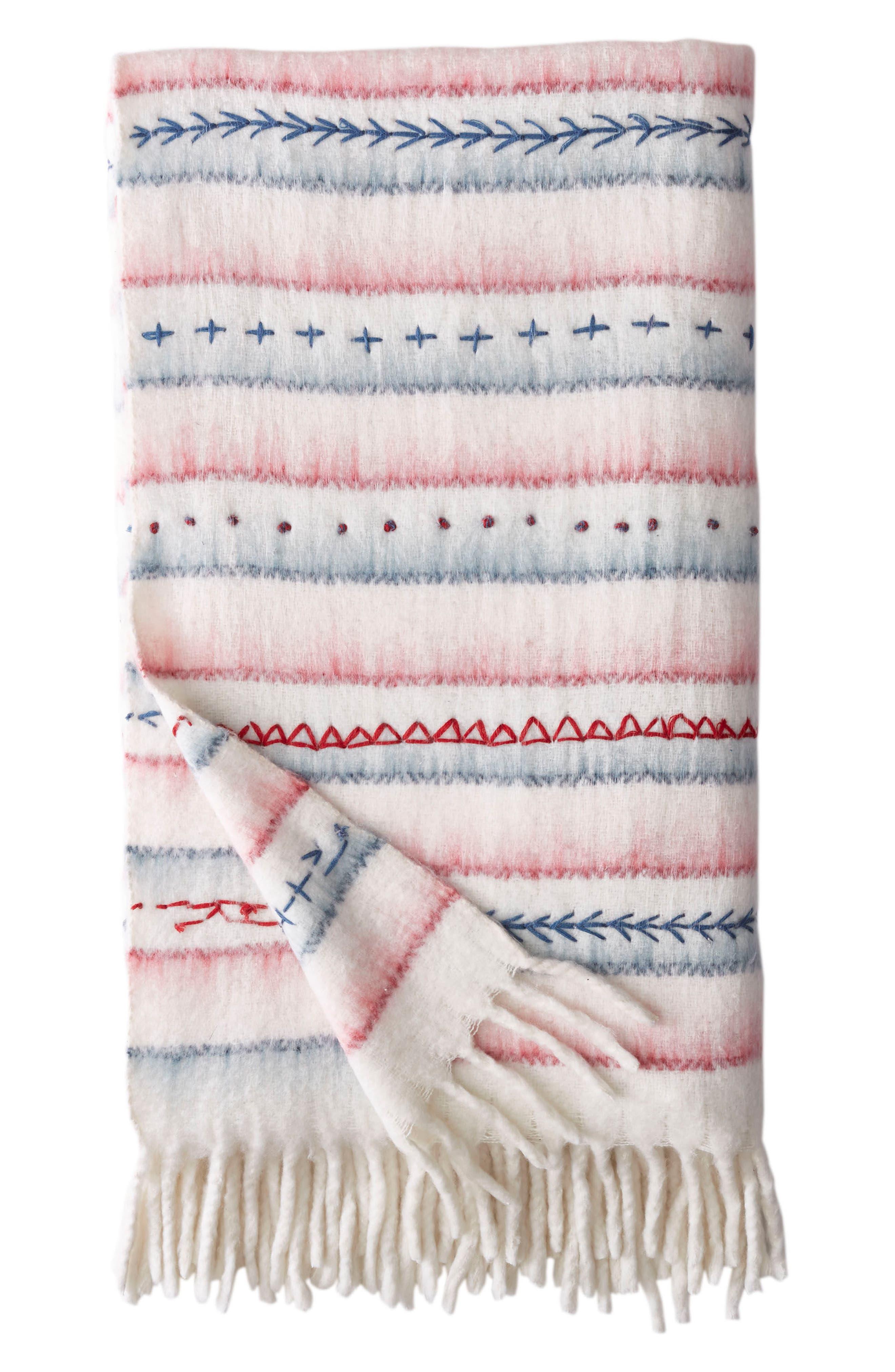 American Dream Throw Blanket,                         Main,                         color, Cream Multi