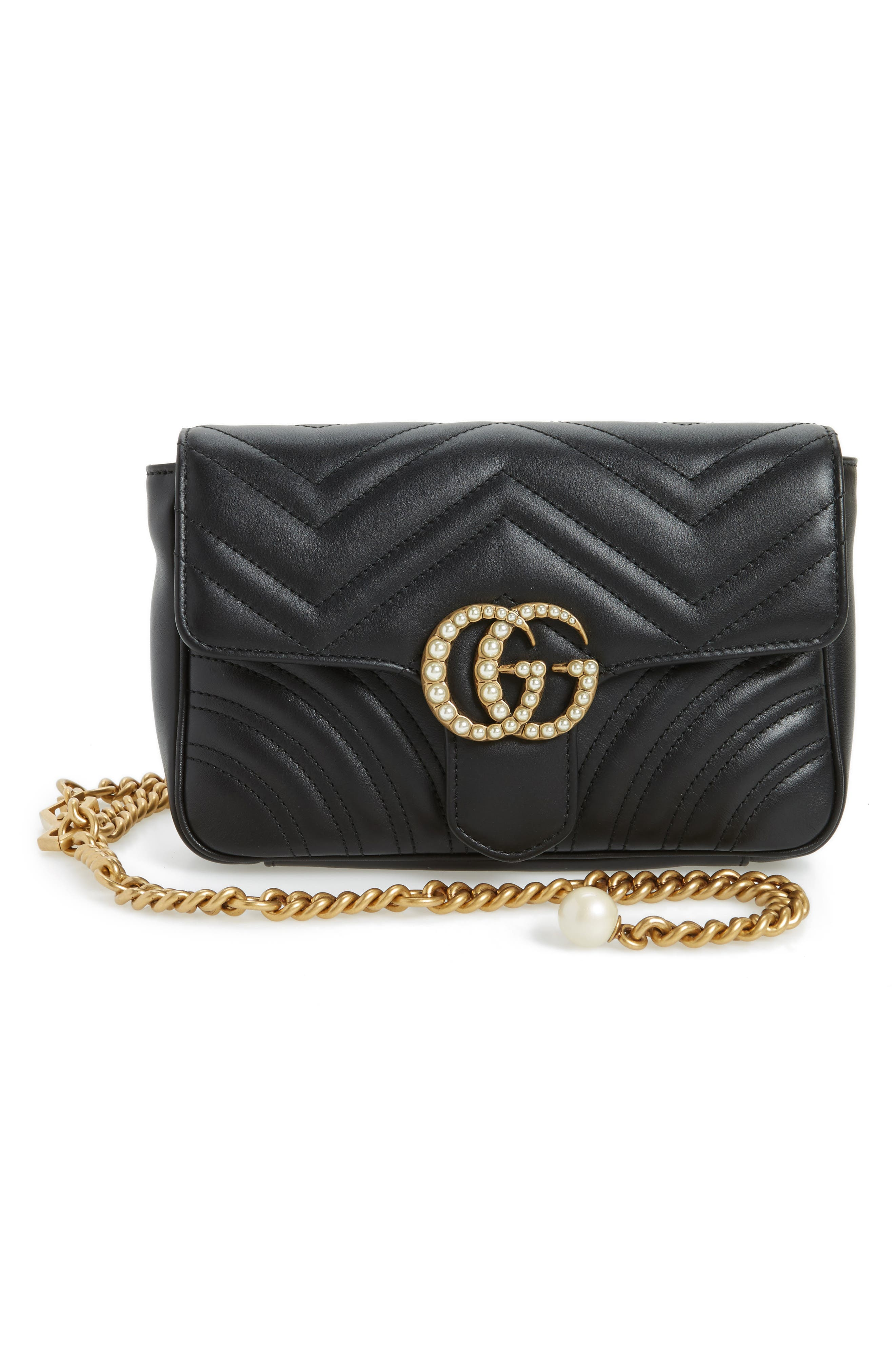 Marmont 2.0 Imitation Pearl Logo Quilted Leather Belt Bag,                         Main,                         color, Nero Black