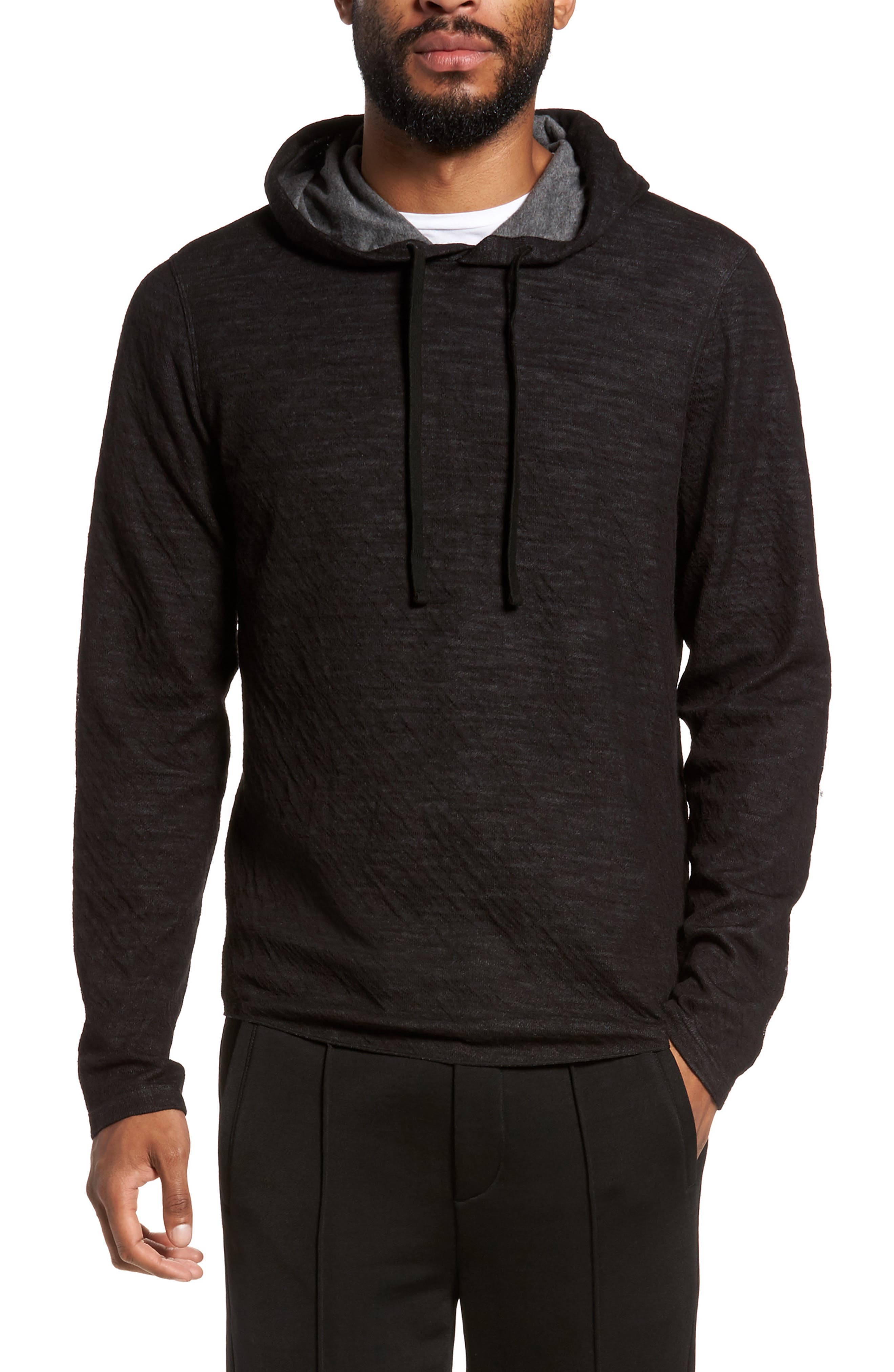 Contrast Double Knit Cotton & Wool Hoodie,                             Main thumbnail 1, color,                             Black/ H Carbon