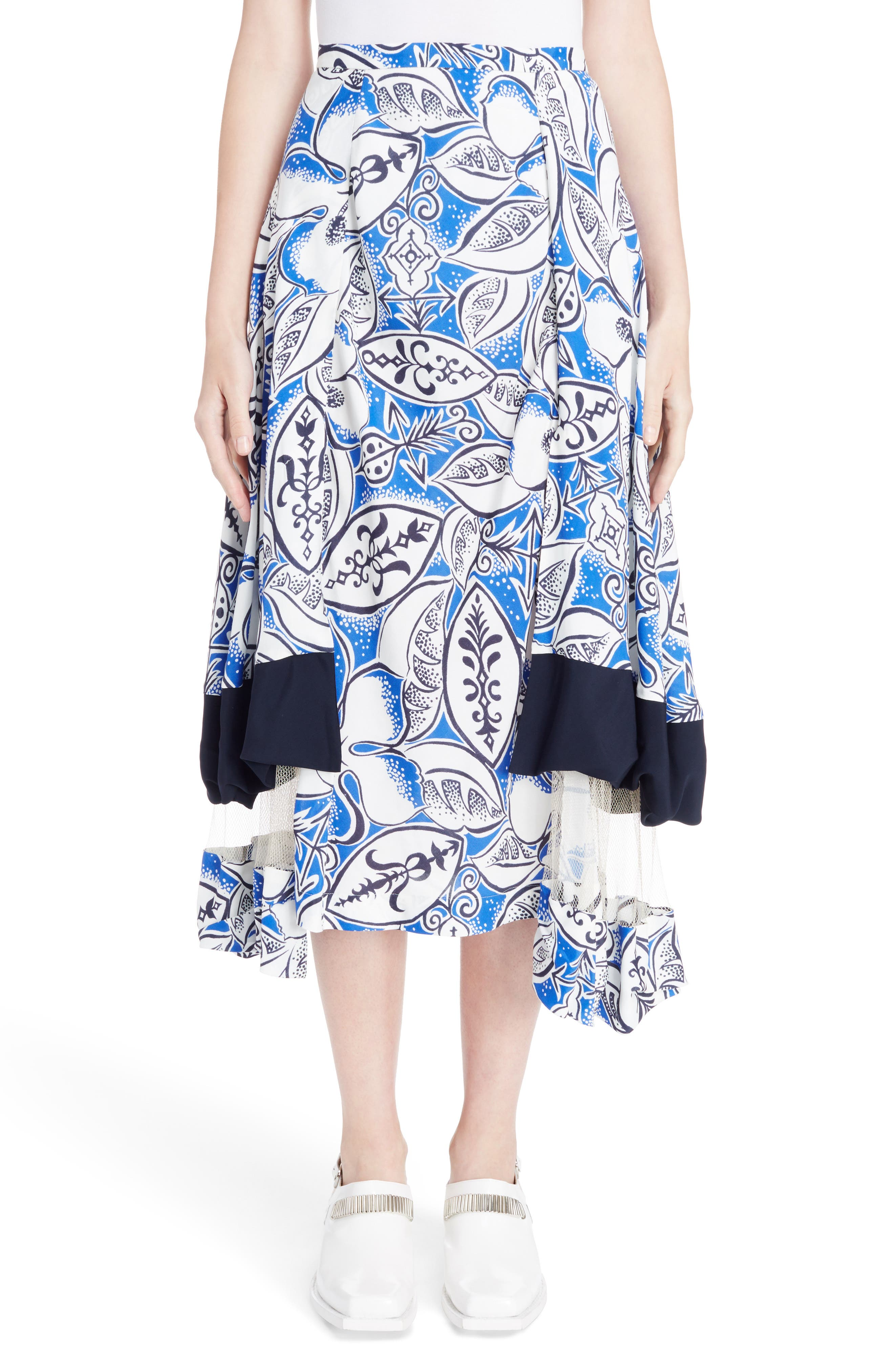 Print Tiered Skirt with Mesh Insets,                         Main,                         color, Blue