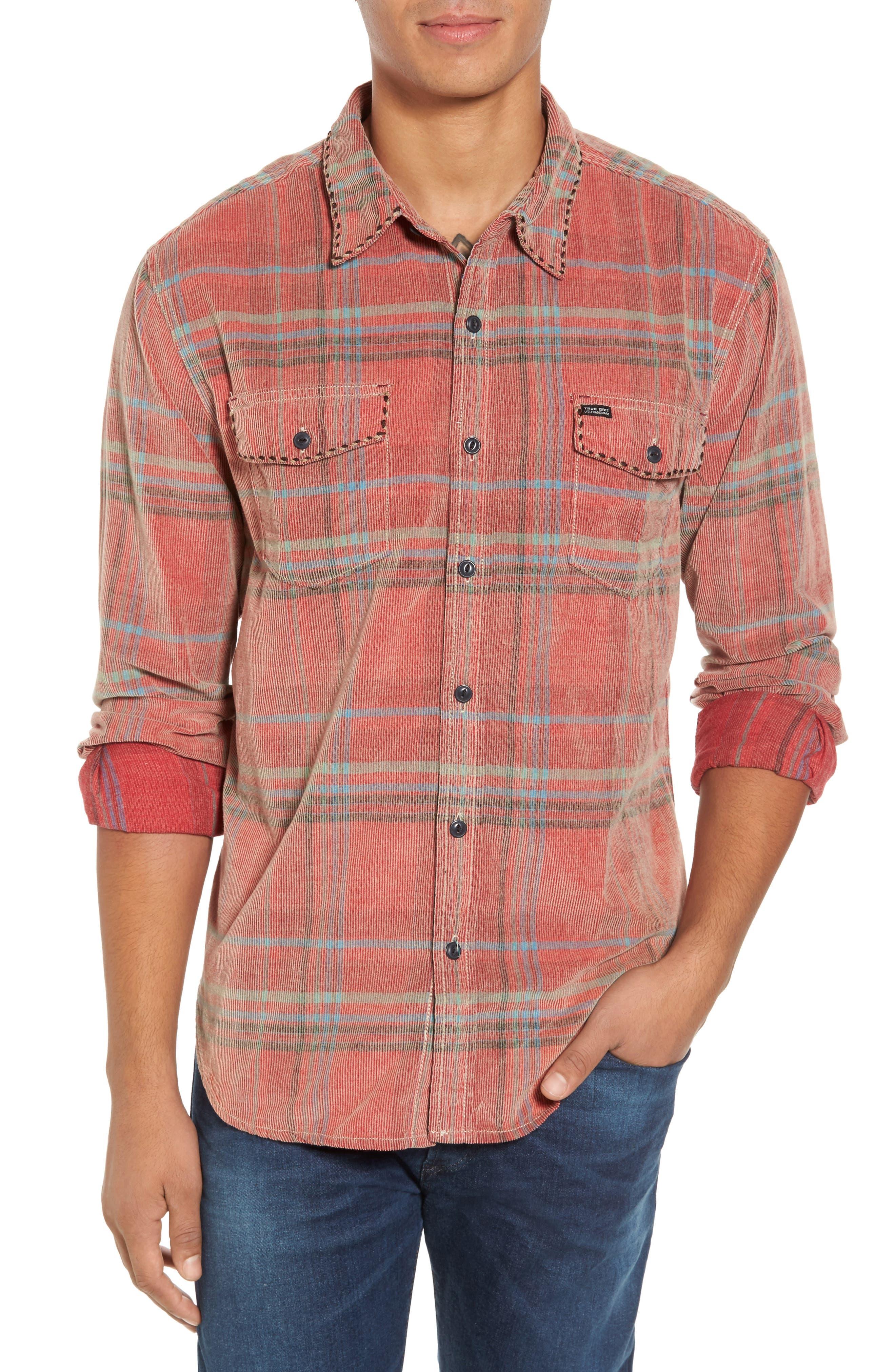 True Grit Austin Canyon Plaid Corduroy Shirt