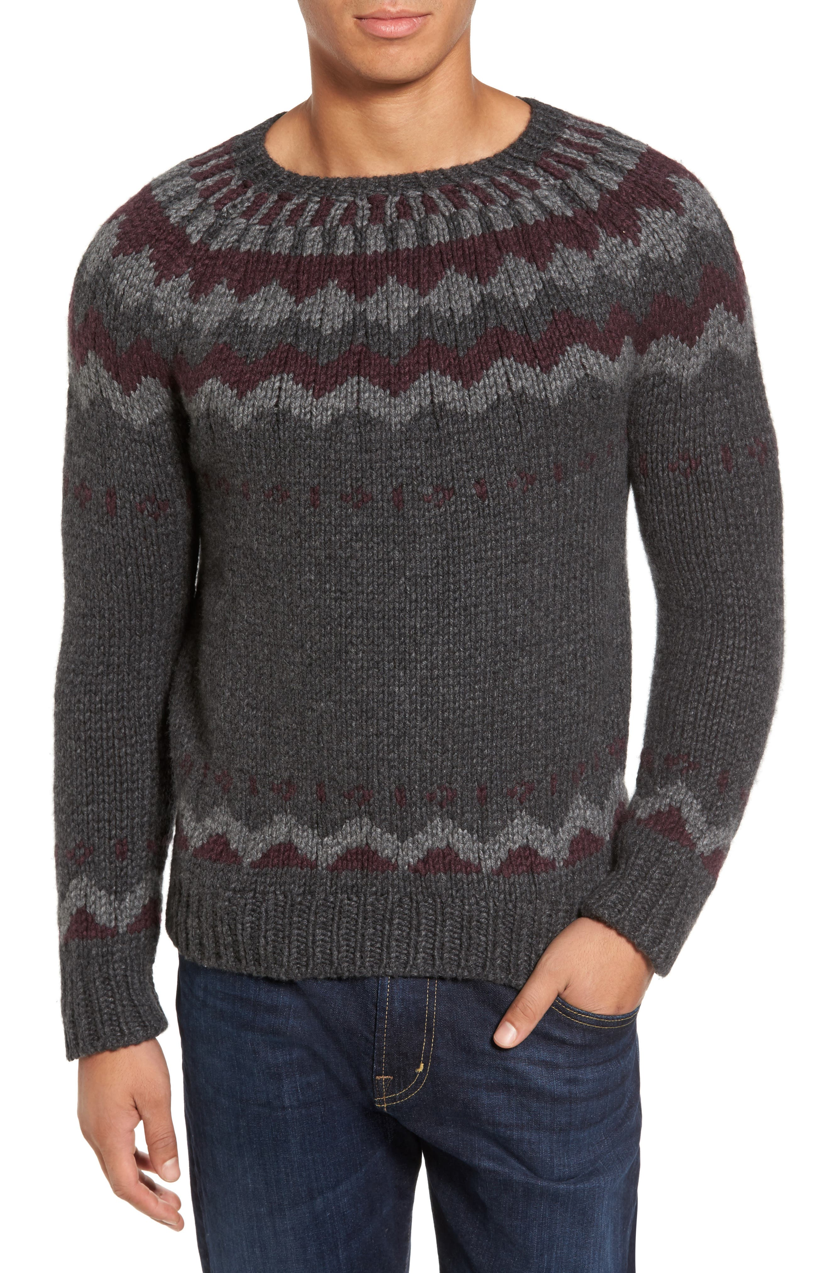 Intarsia Cashmere Sweater,                         Main,                         color, Grey / Burgundy/ Light Grey