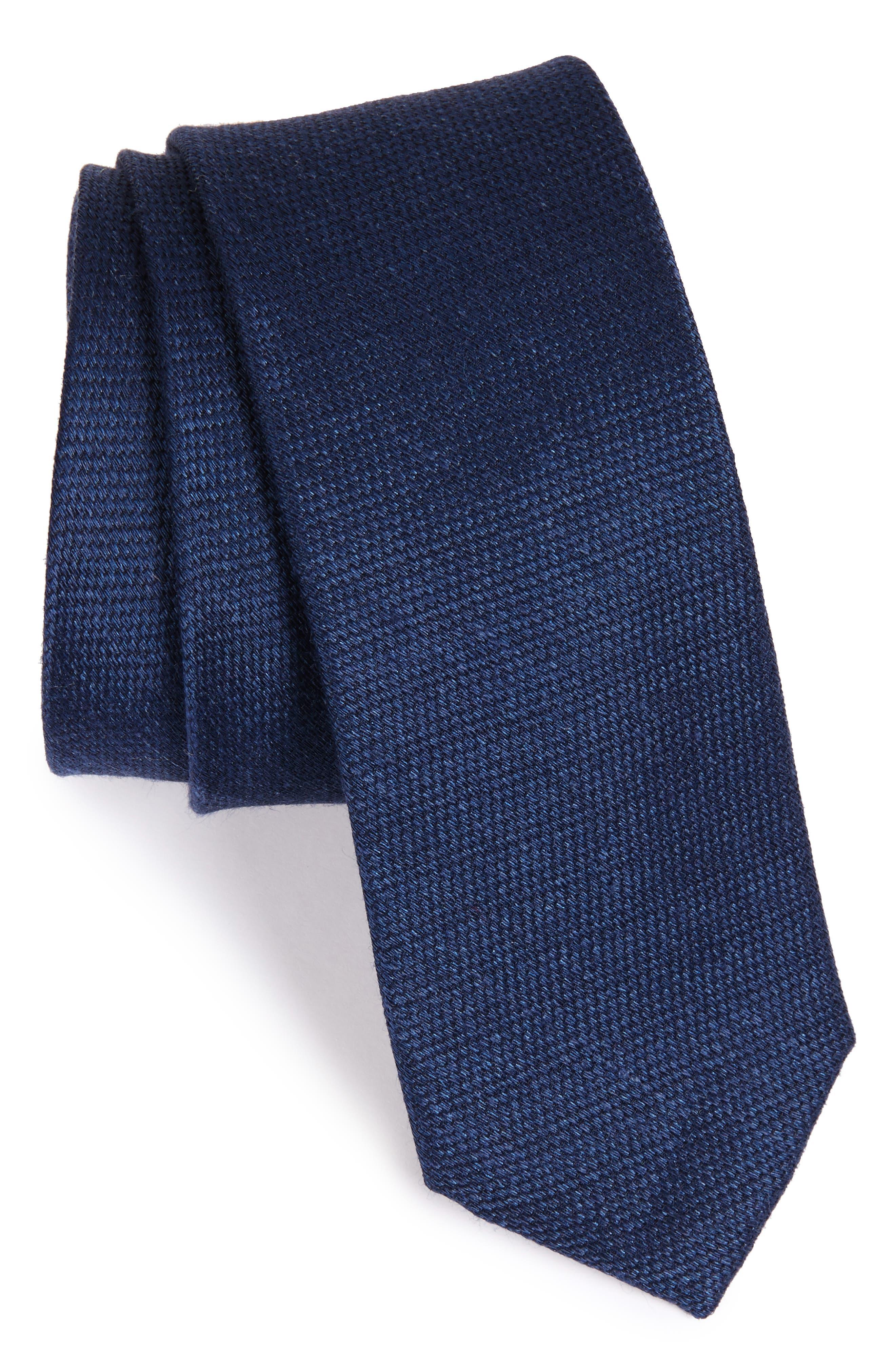 Solid Silk & Linen Tie,                         Main,                         color, Navy