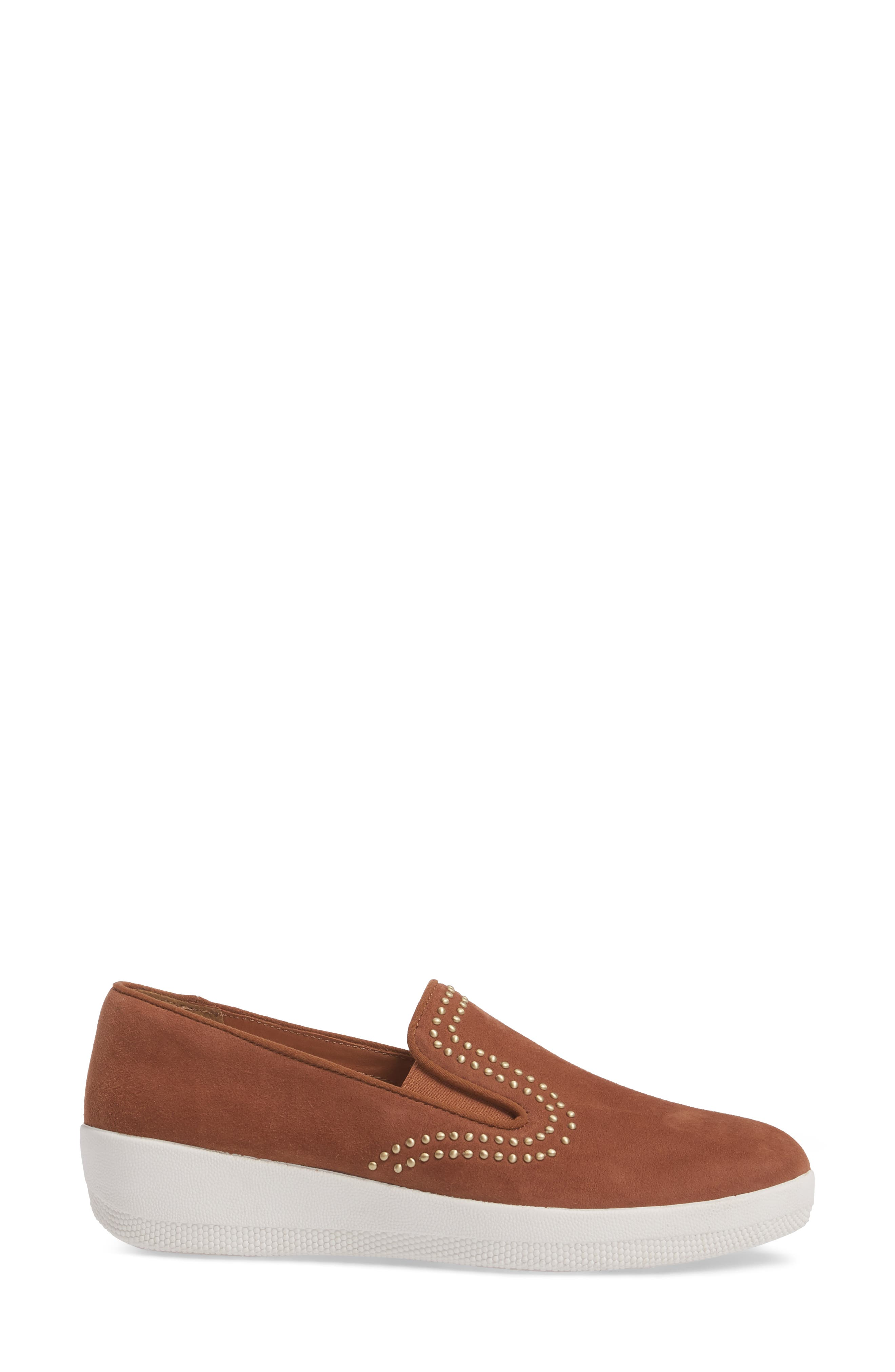 Superskate Studded Wedge Loafer,                             Alternate thumbnail 3, color,                             Tan Faux Suede