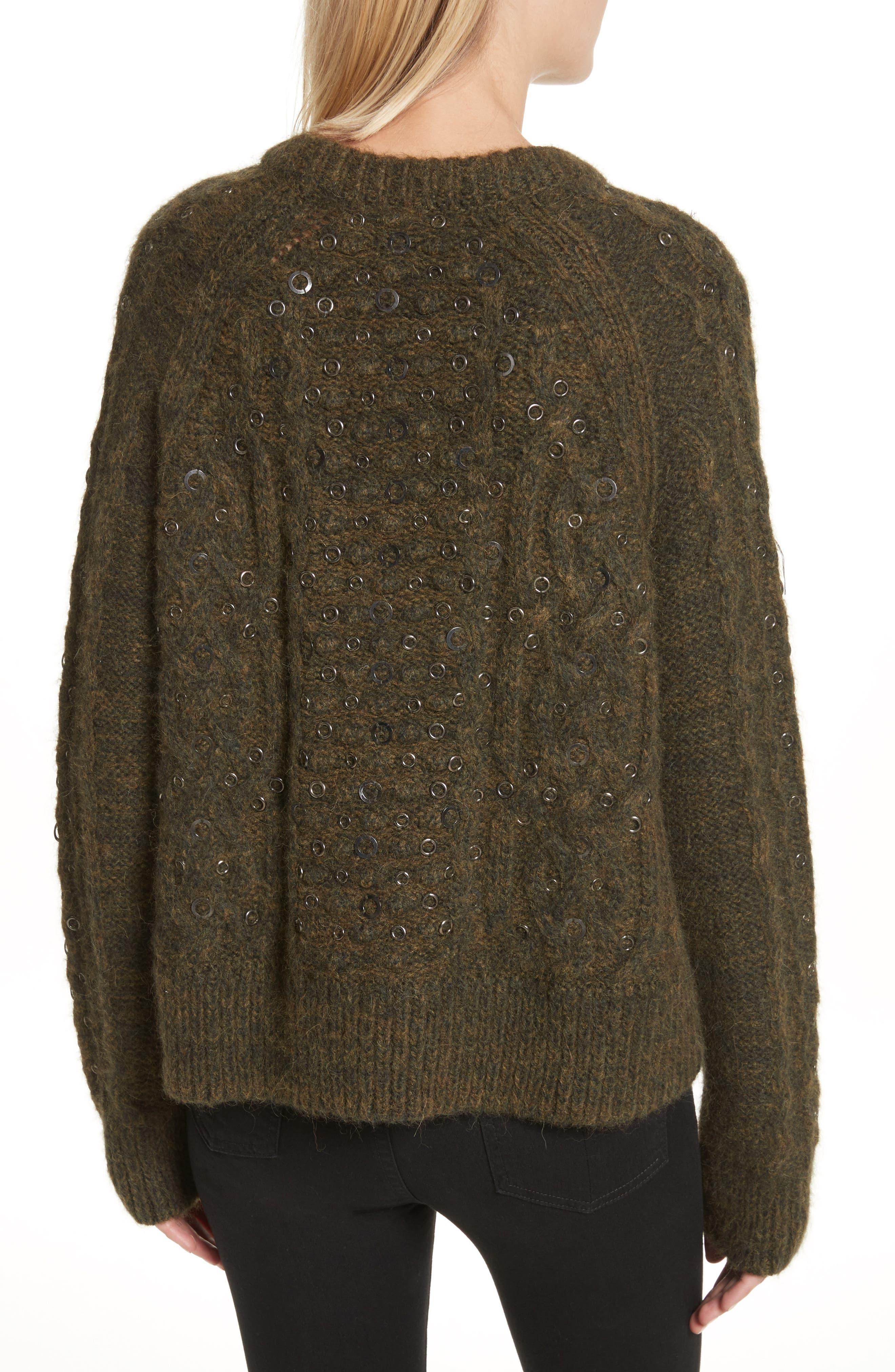 Jemima Wool & Alpaca Blend Beaded Sweater,                             Alternate thumbnail 2, color,                             Army