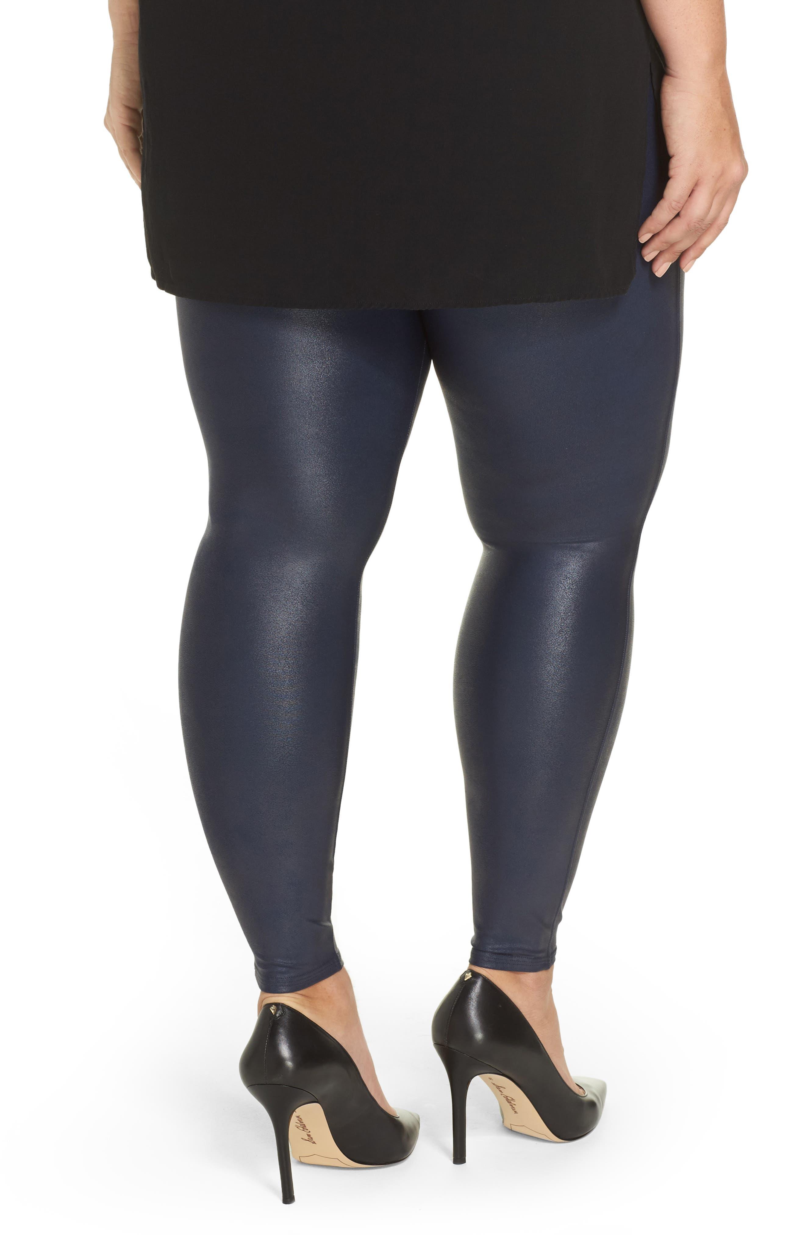 Alternate Image 2  - SPANX® Faux Leather Leggings (Plus Size)