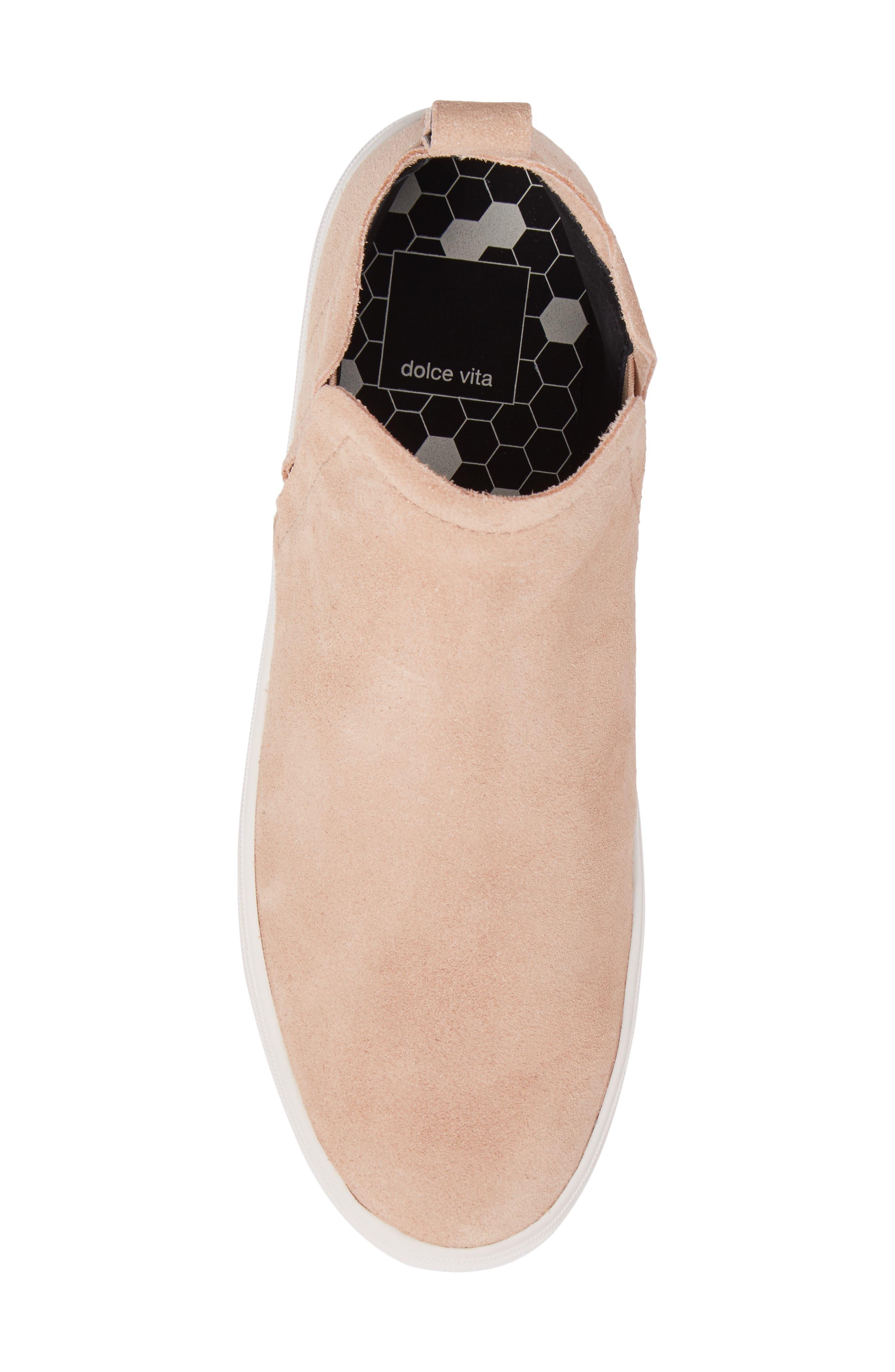 Tate Slip-On Sneaker,                             Alternate thumbnail 5, color,                             Blush Suede