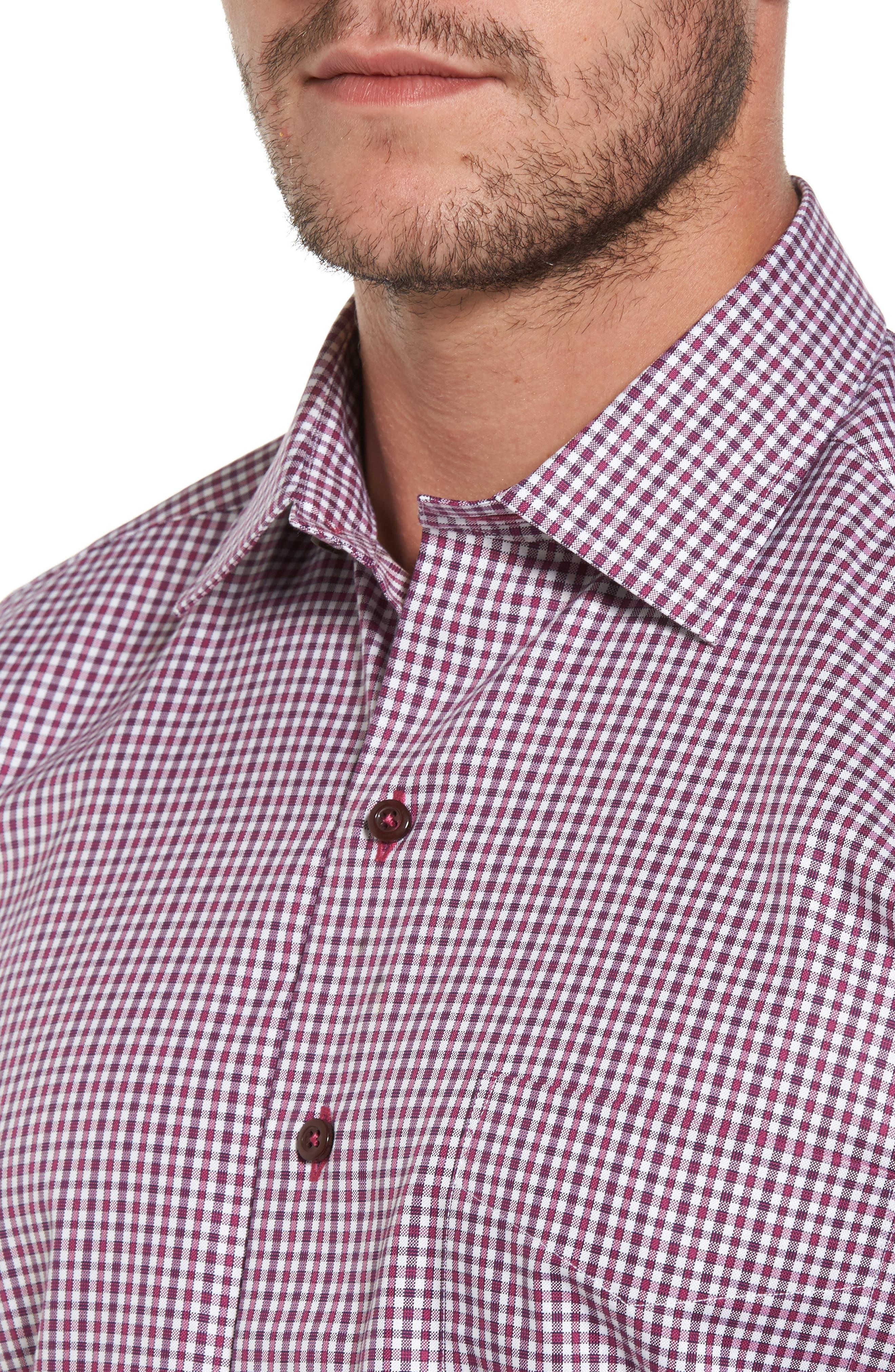 Plaid Regular Fit Sport Shirt,                             Alternate thumbnail 4, color,                             Berry