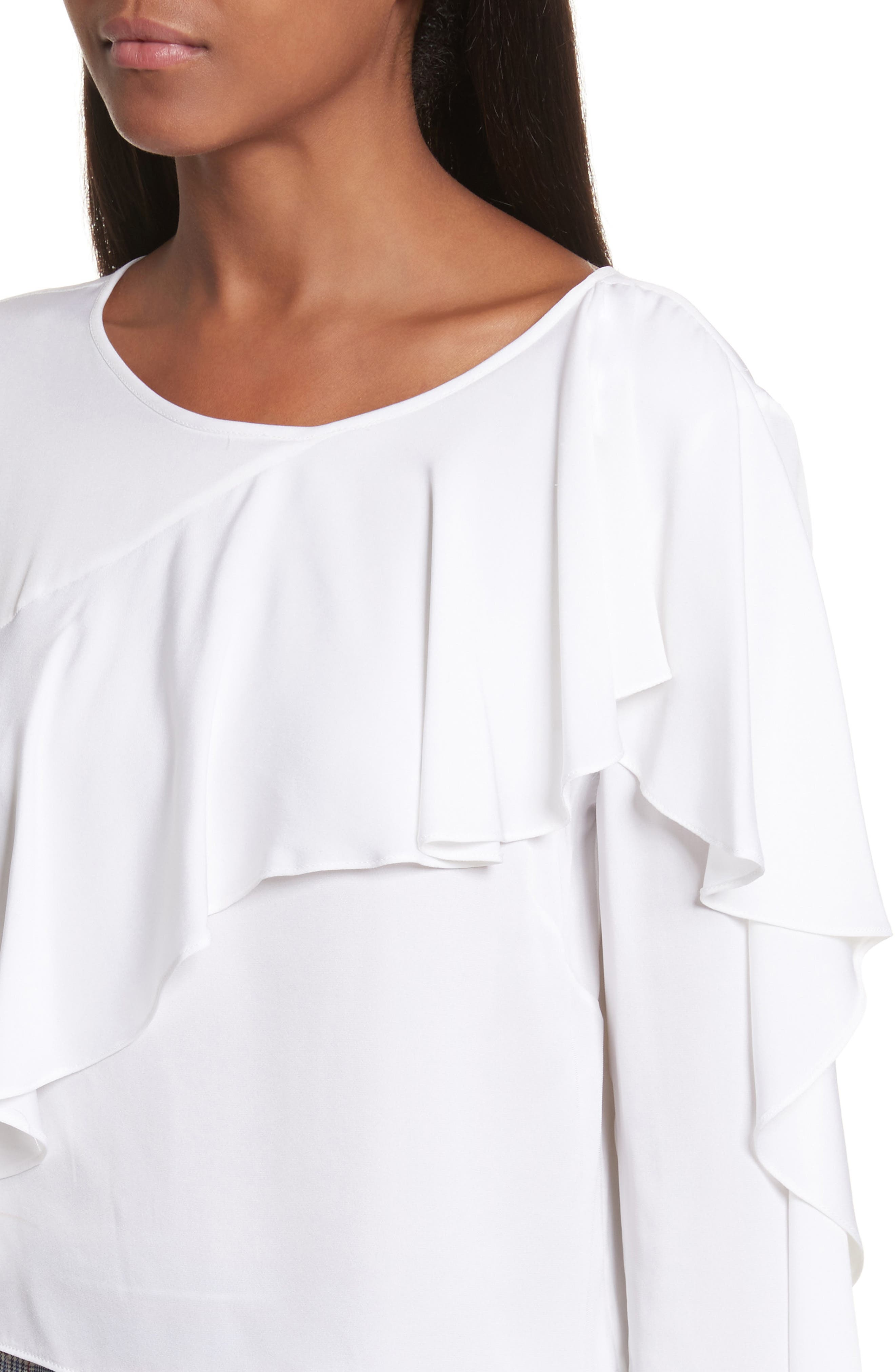 Alternate Image 4  - Milly Stretch Silk Ruffle Top