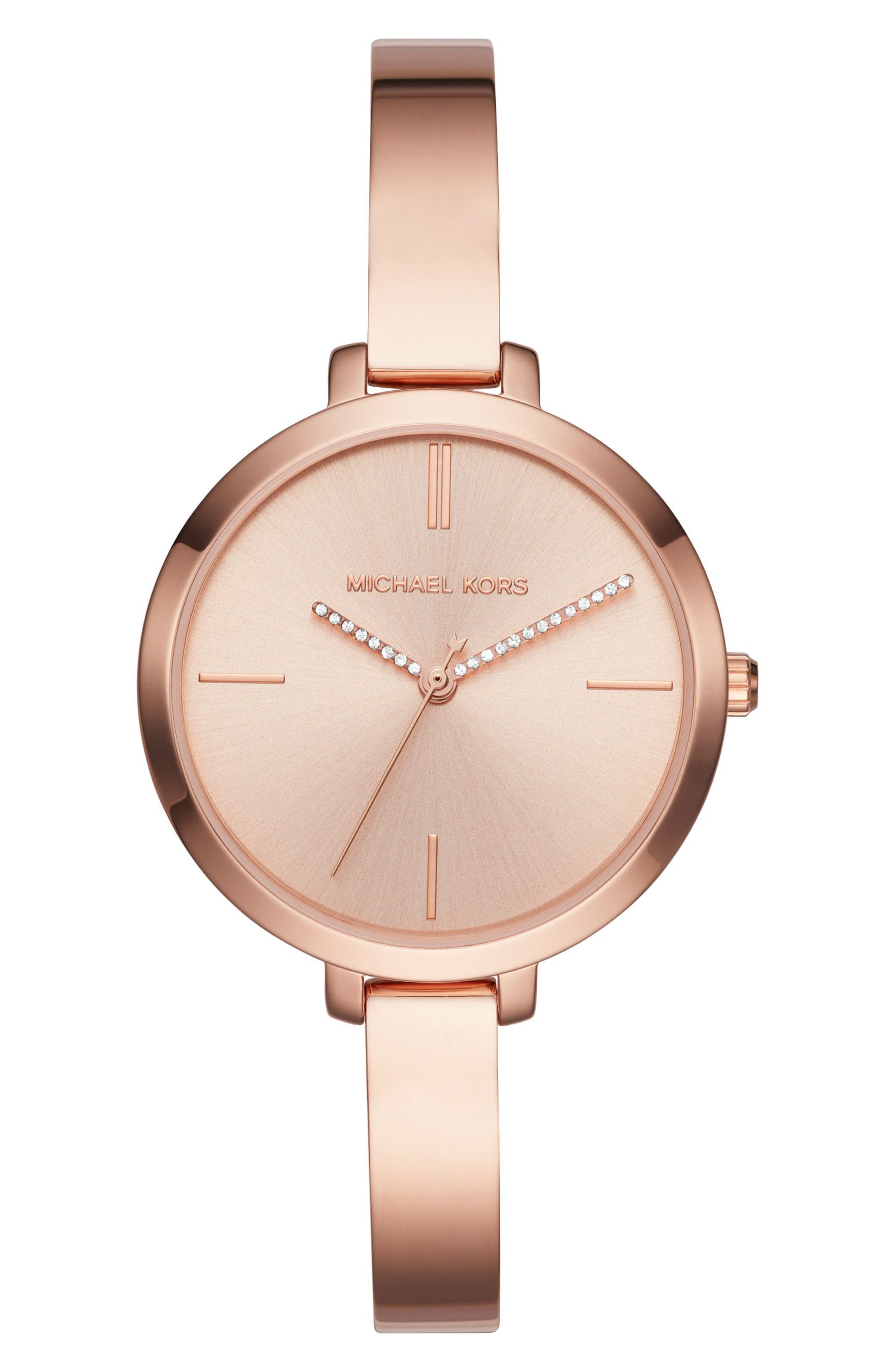 Jaryn Crystal Accent Bangle Watch, 36mm,                             Main thumbnail 1, color,                             Rose Gold