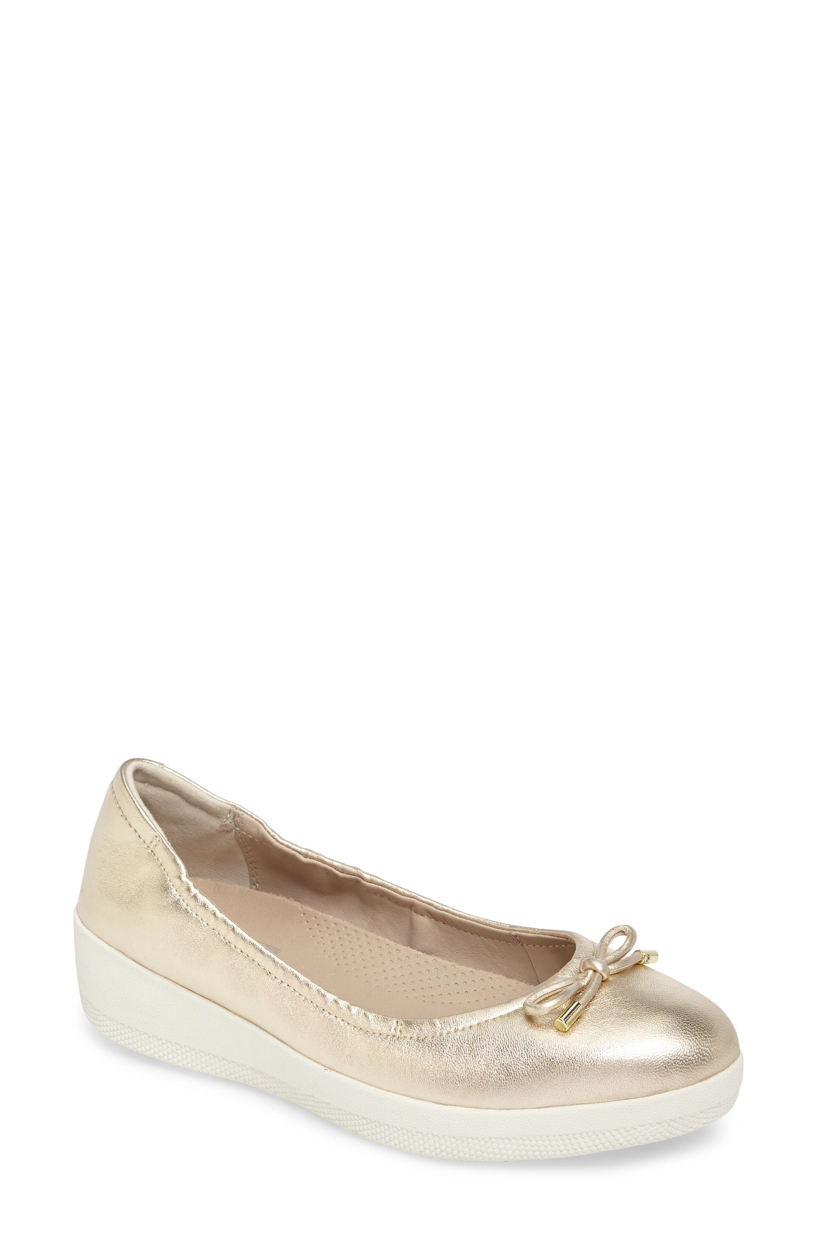 Superbendy Ballerina Flat,                             Main thumbnail 1, color,                             Pale Gold Leather