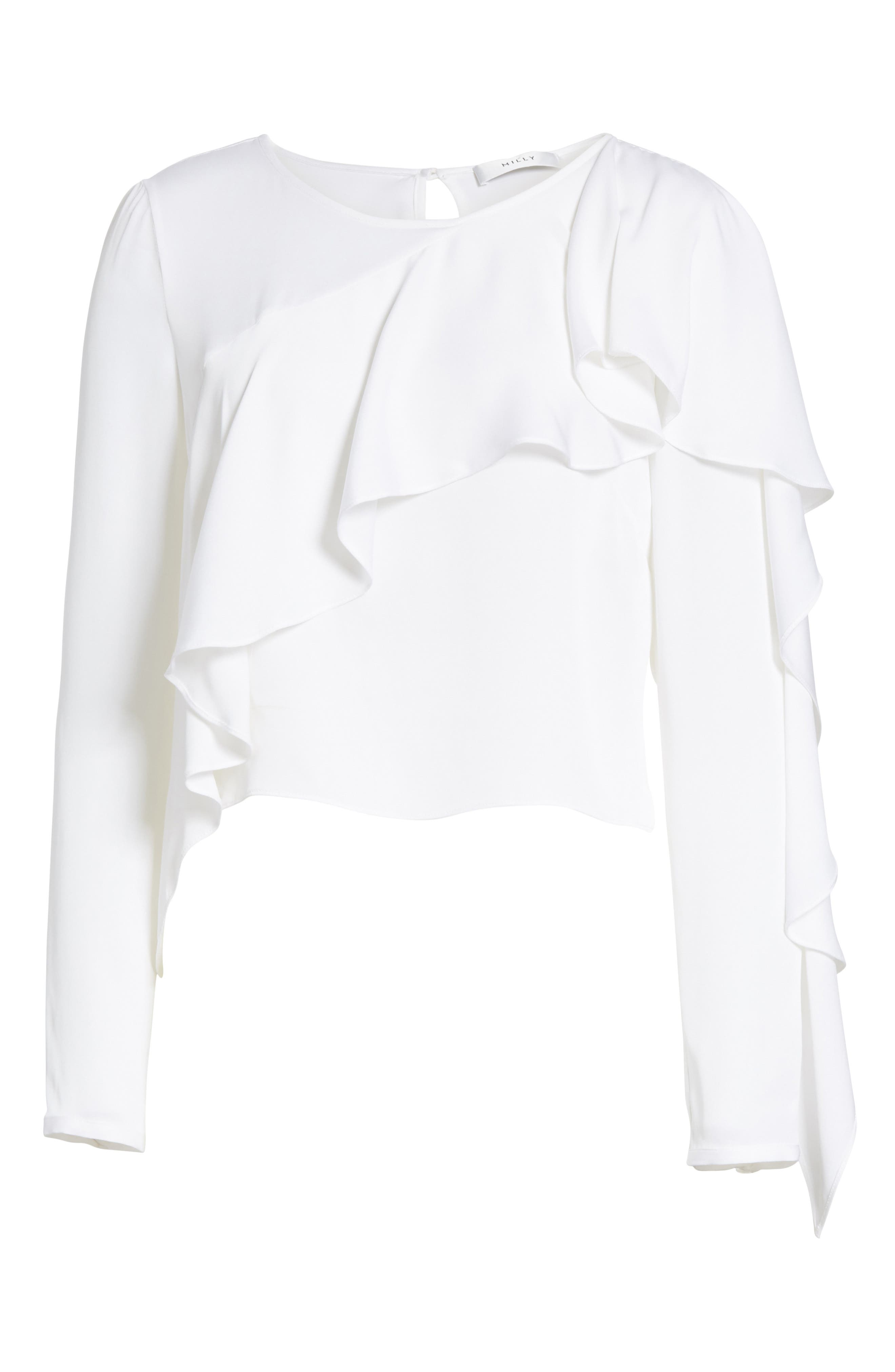 Alternate Image 6  - Milly Stretch Silk Ruffle Top