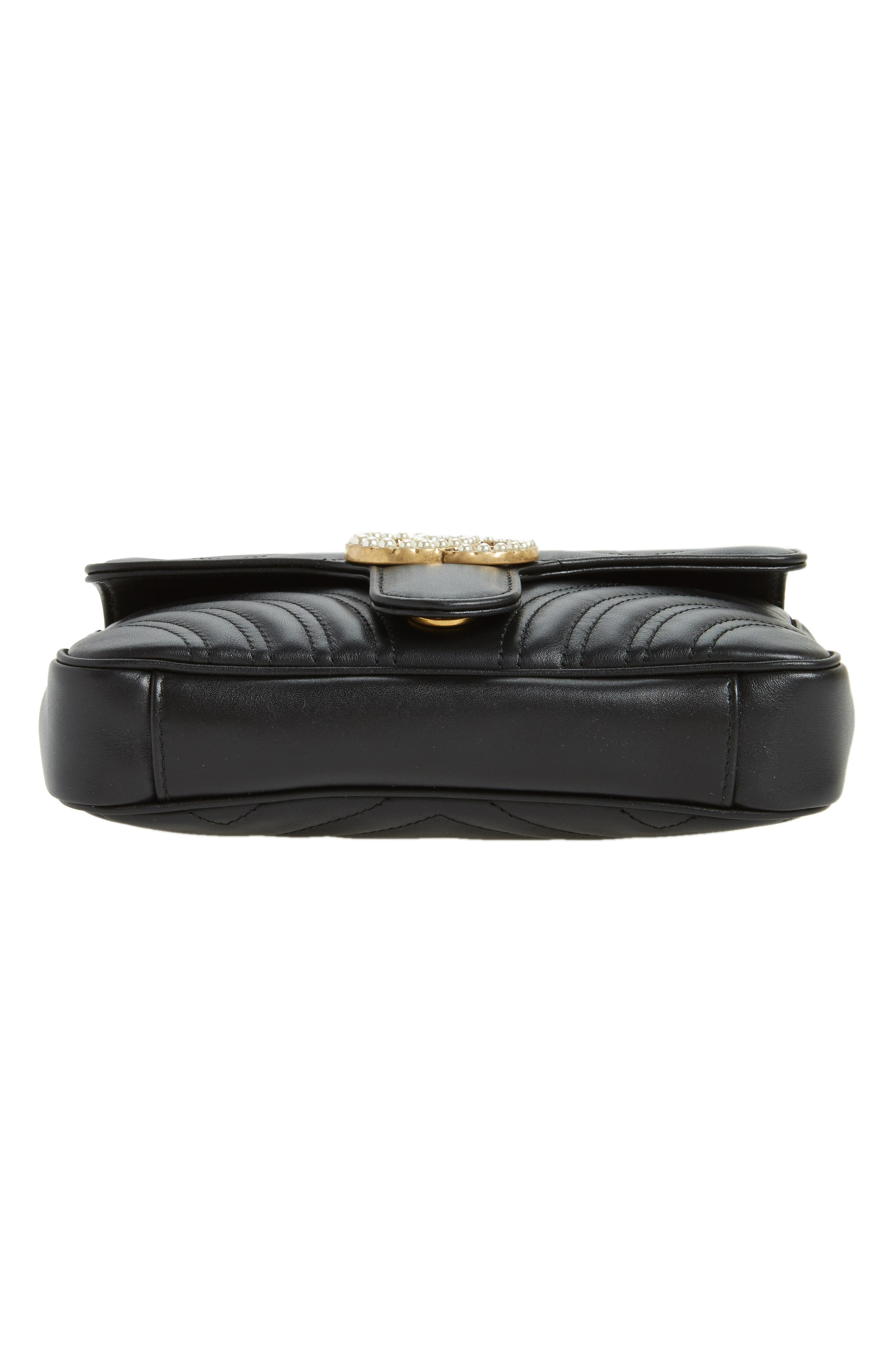 Marmont 2.0 Imitation Pearl Logo Quilted Leather Belt Bag,                             Alternate thumbnail 6, color,                             Nero Black