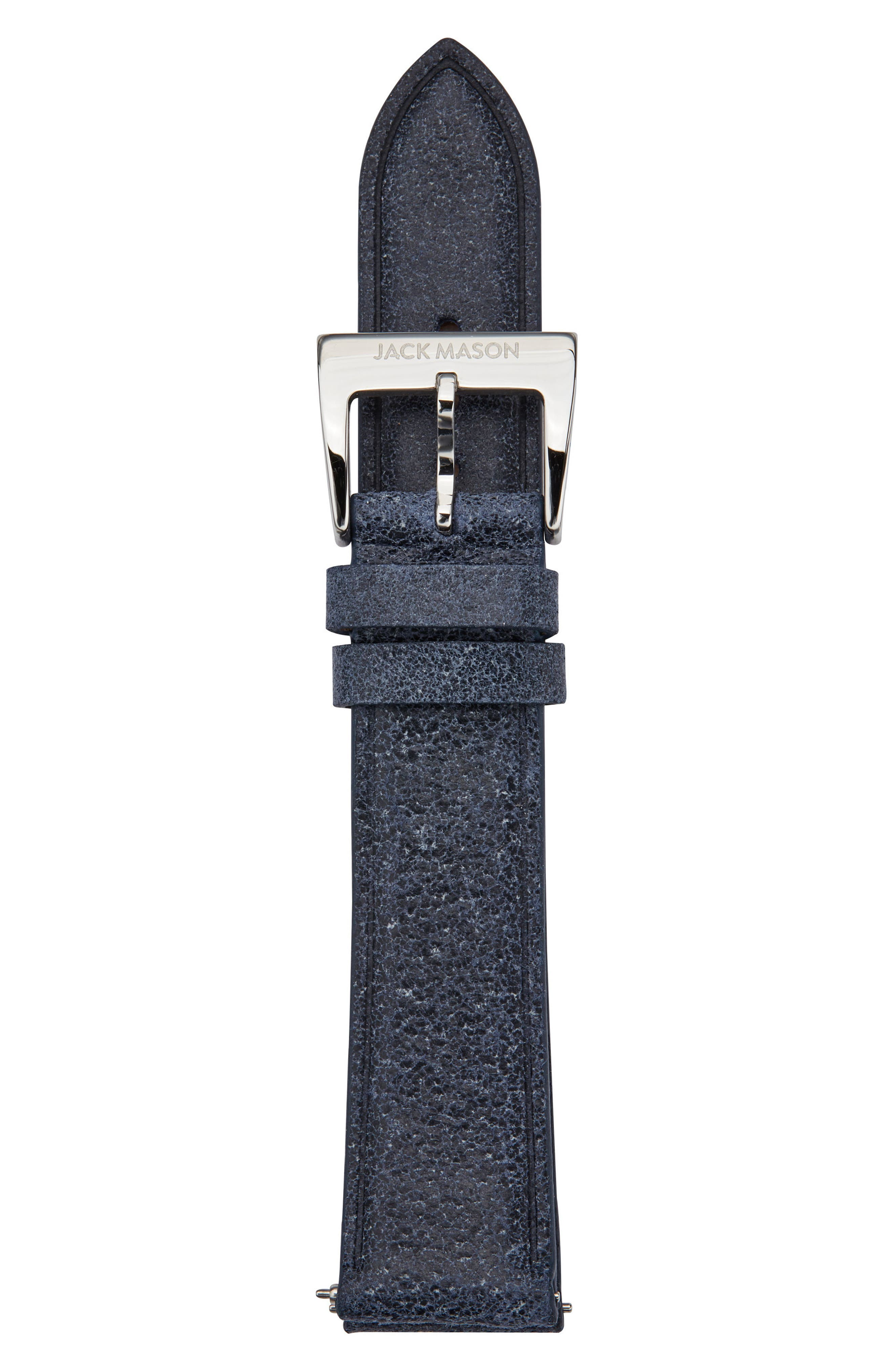 Leather Watch Strap, 18mm,                         Main,                         color, Navy