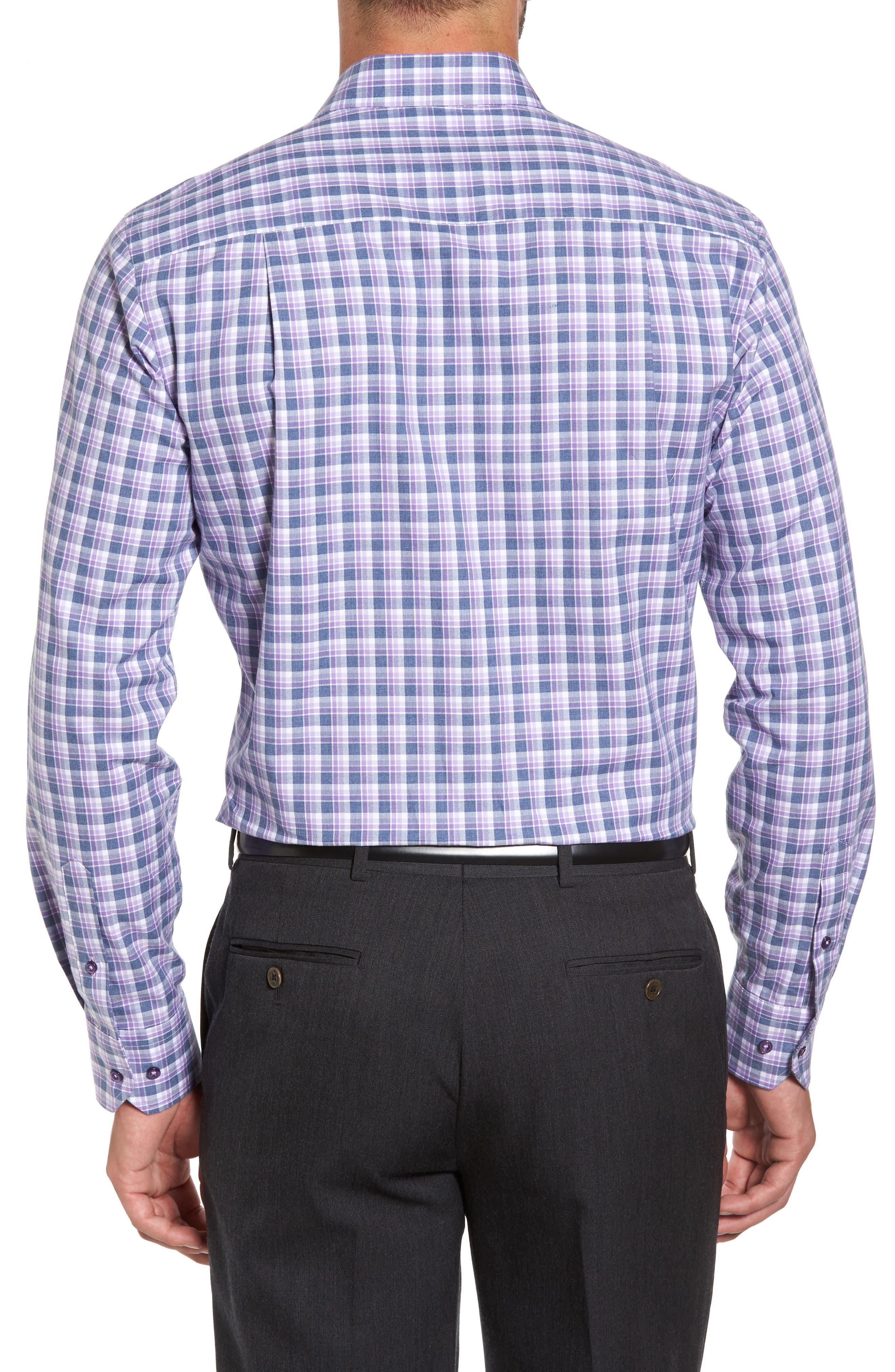 Plaid Herringbone Sport Shirt,                             Alternate thumbnail 3, color,                             Blue/ Purple