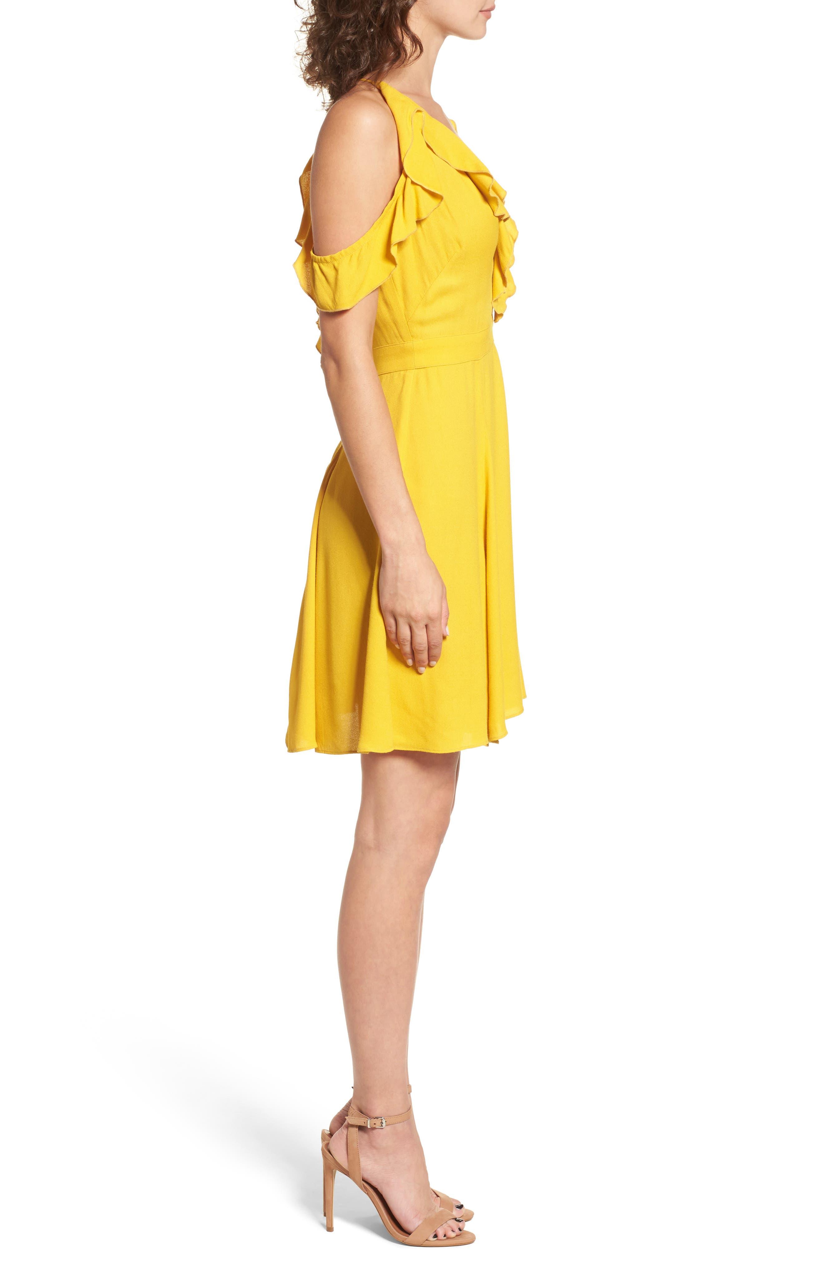 Enzo Cold Shoulder Fit & Flare Dress,                             Alternate thumbnail 3, color,                             Sun