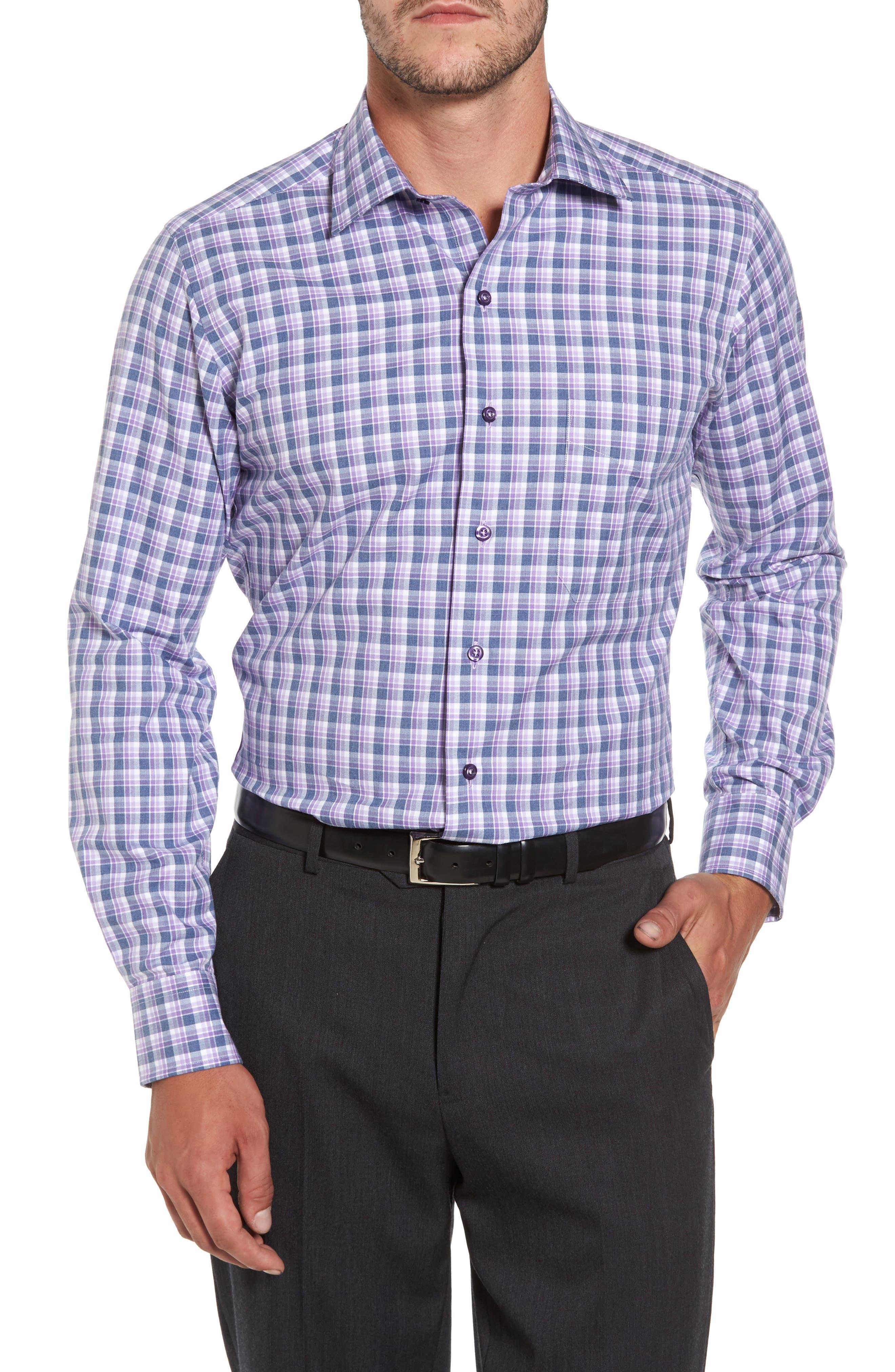 Plaid Herringbone Sport Shirt,                             Main thumbnail 1, color,                             Blue/ Purple