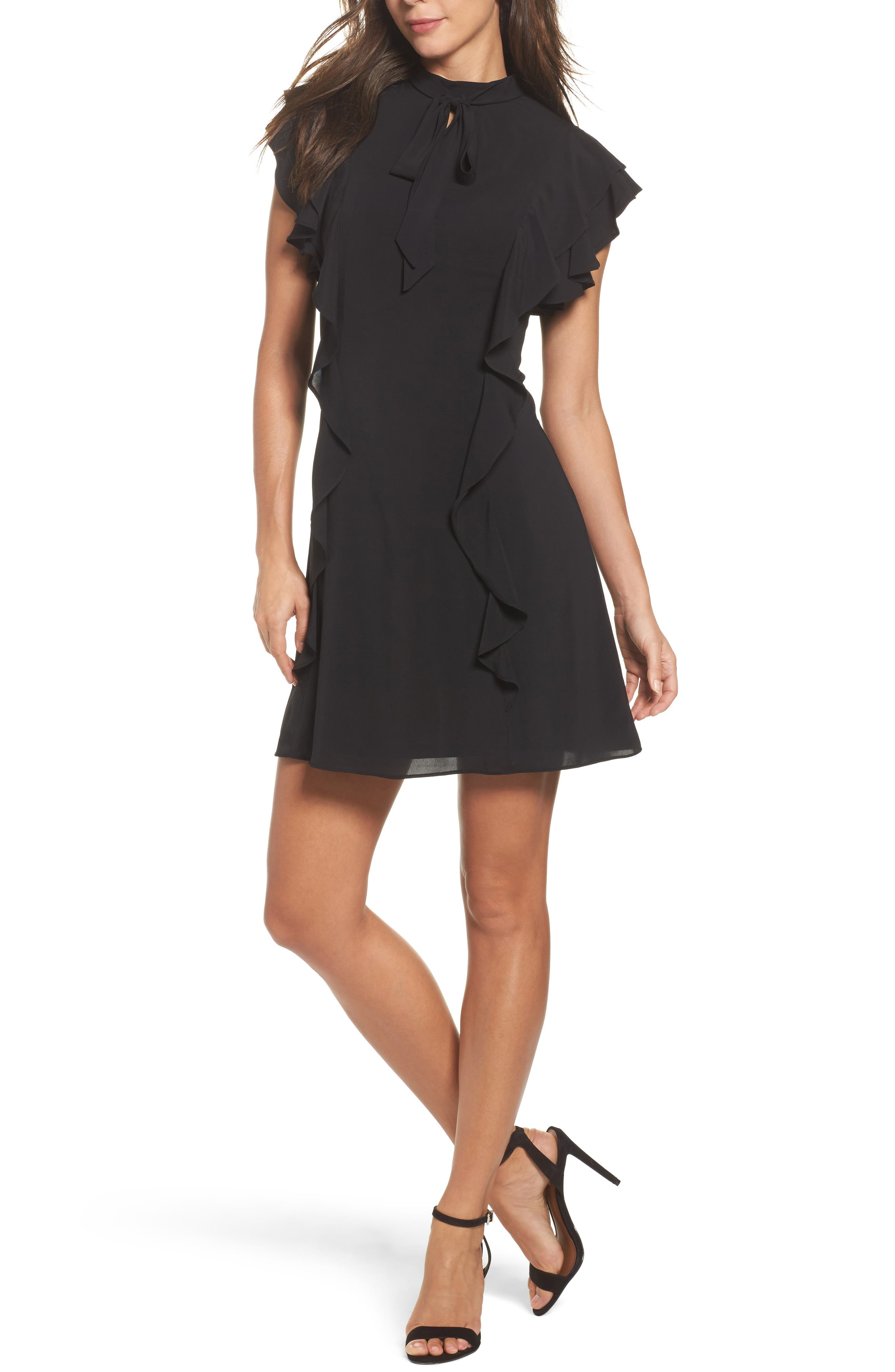 Main Image - Julia Jordan Ruffle Tie Neck Sheath Dress