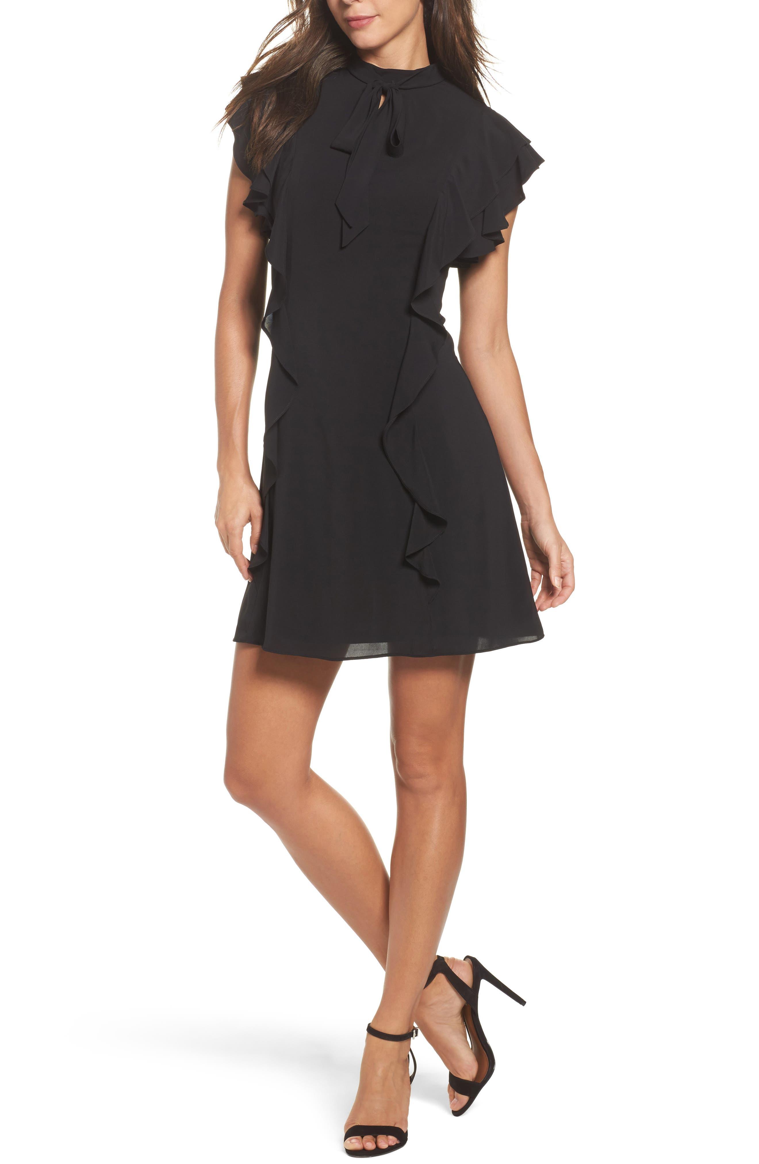 Ruffle Tie Neck Sheath Dress,                         Main,                         color, Black