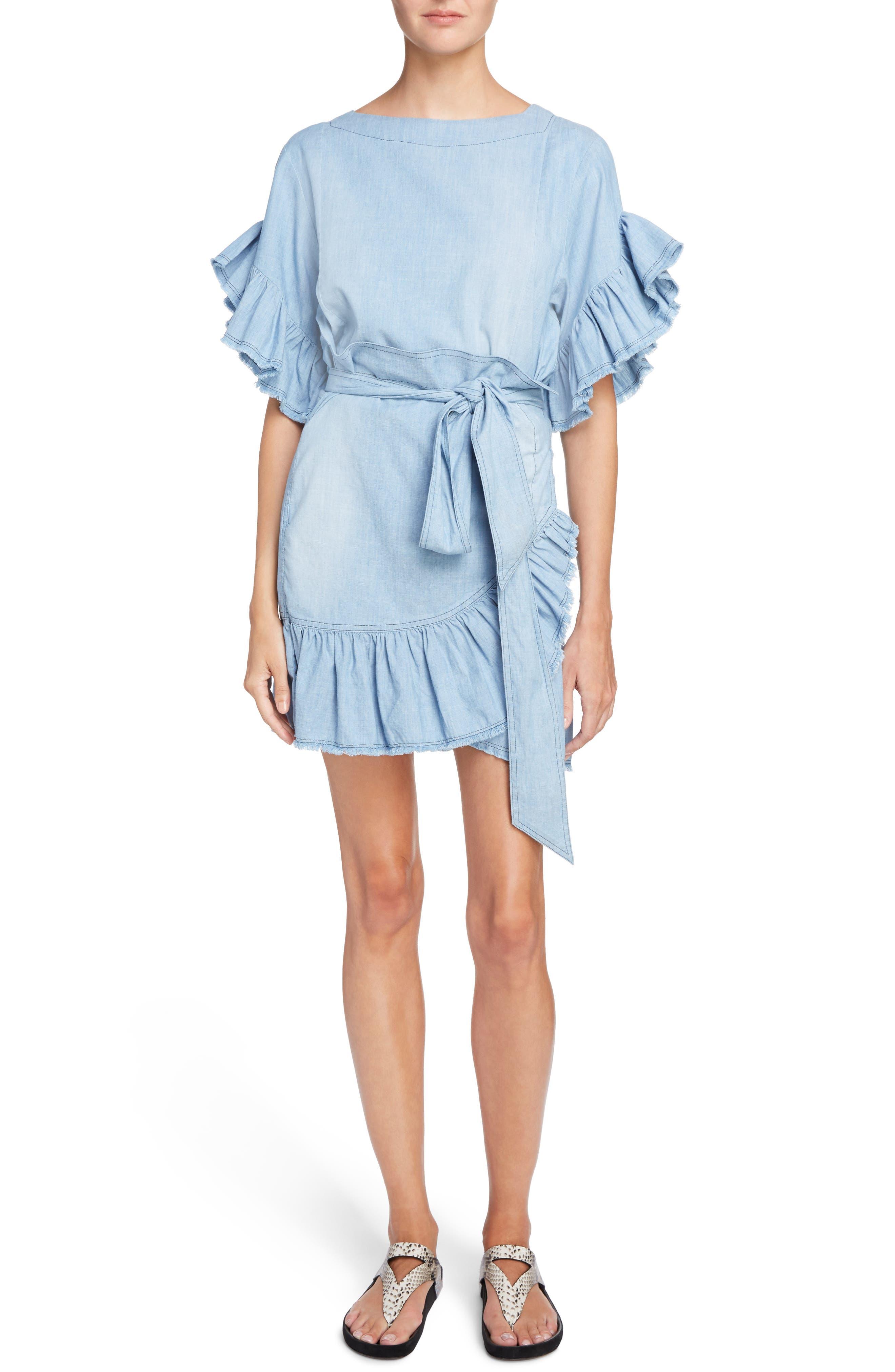 Isabel Marant Étoile Lelicia Denim Ruffle Dress,                         Main,                         color, Blue