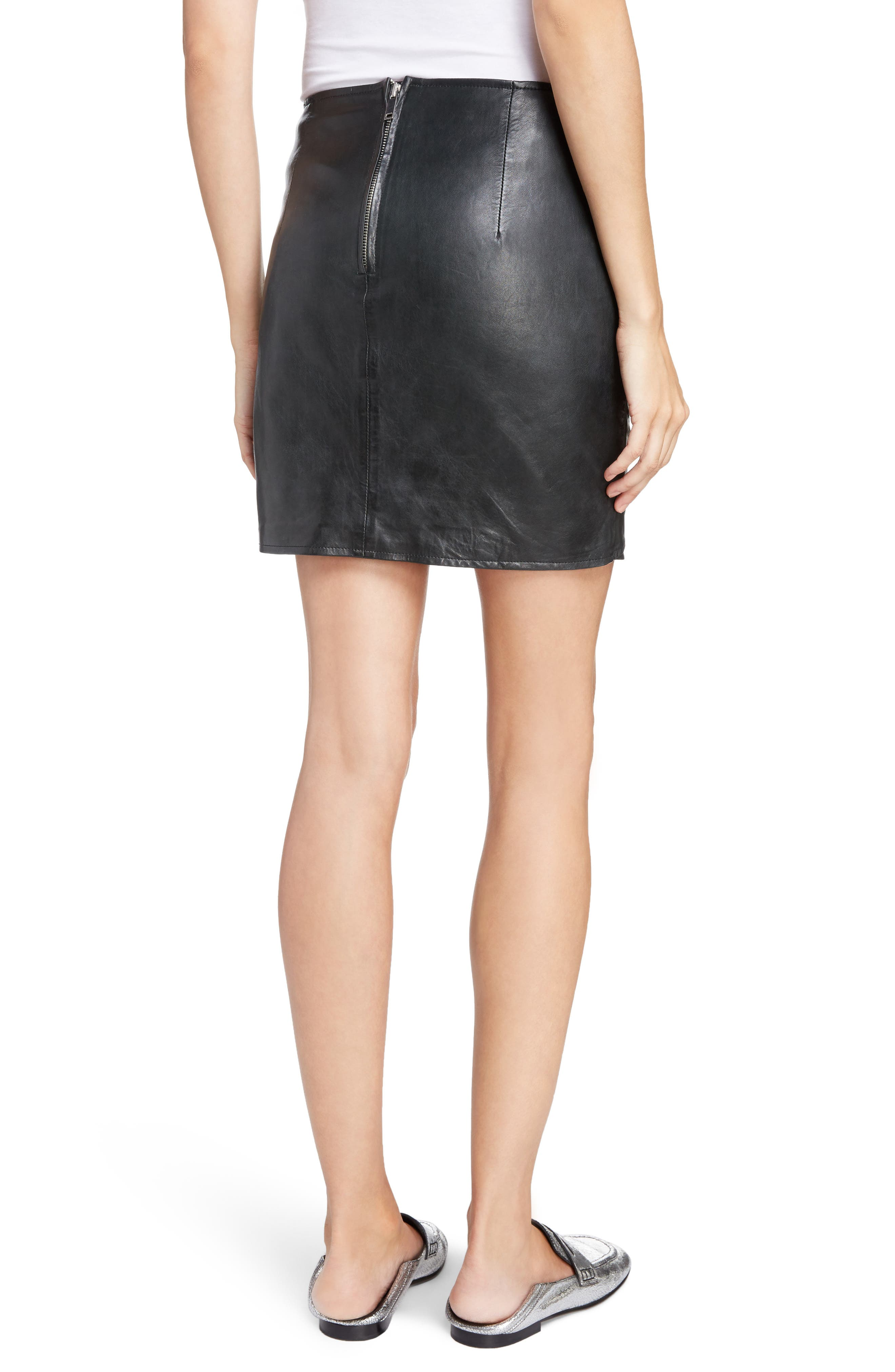 Isabel Marant Étoile Gritanny Tied Leather Skirt,                             Alternate thumbnail 2, color,                             Black