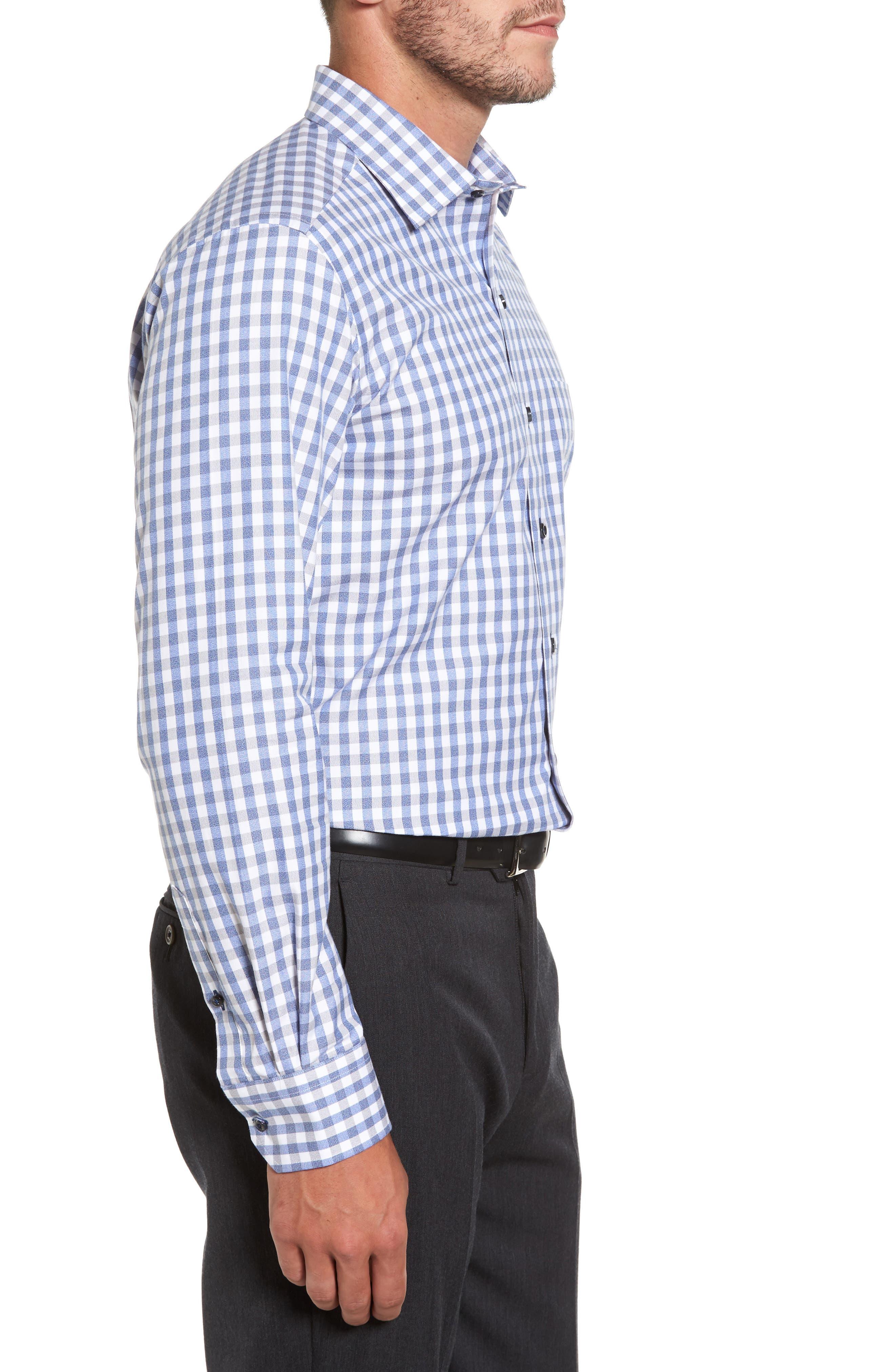Gingham Sport Shirt,                             Alternate thumbnail 3, color,                             Blue