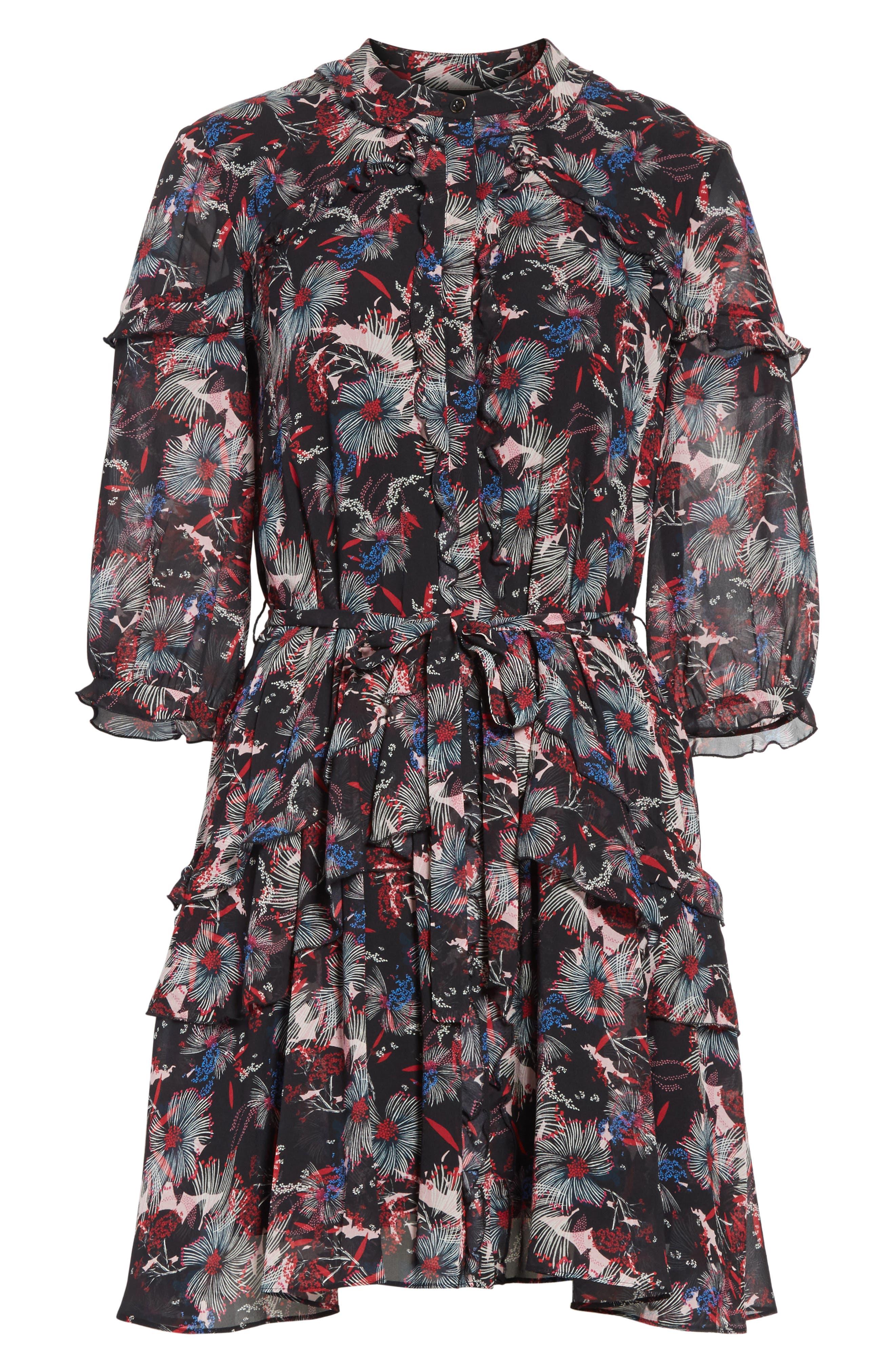 Alternate Image 6  - SALONI Tilly Ruffle Silk Dress
