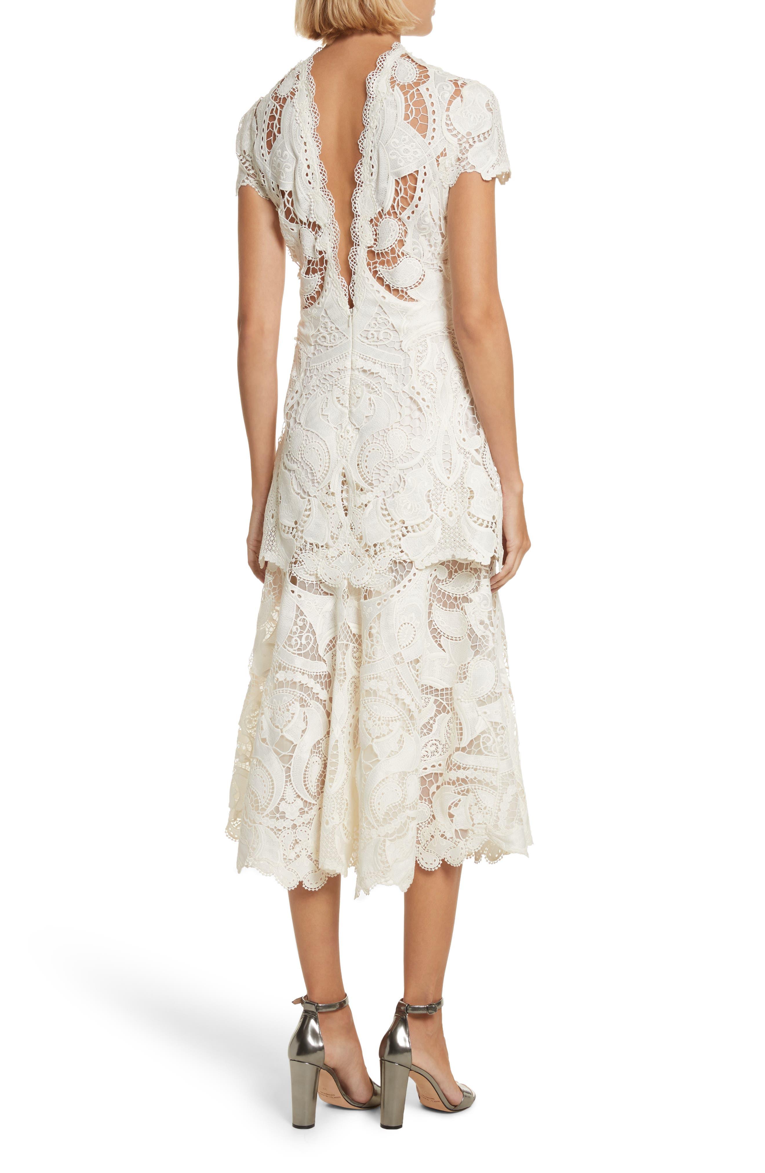 Appliqué Lace Midi Dress,                             Alternate thumbnail 2, color,                             Ivory