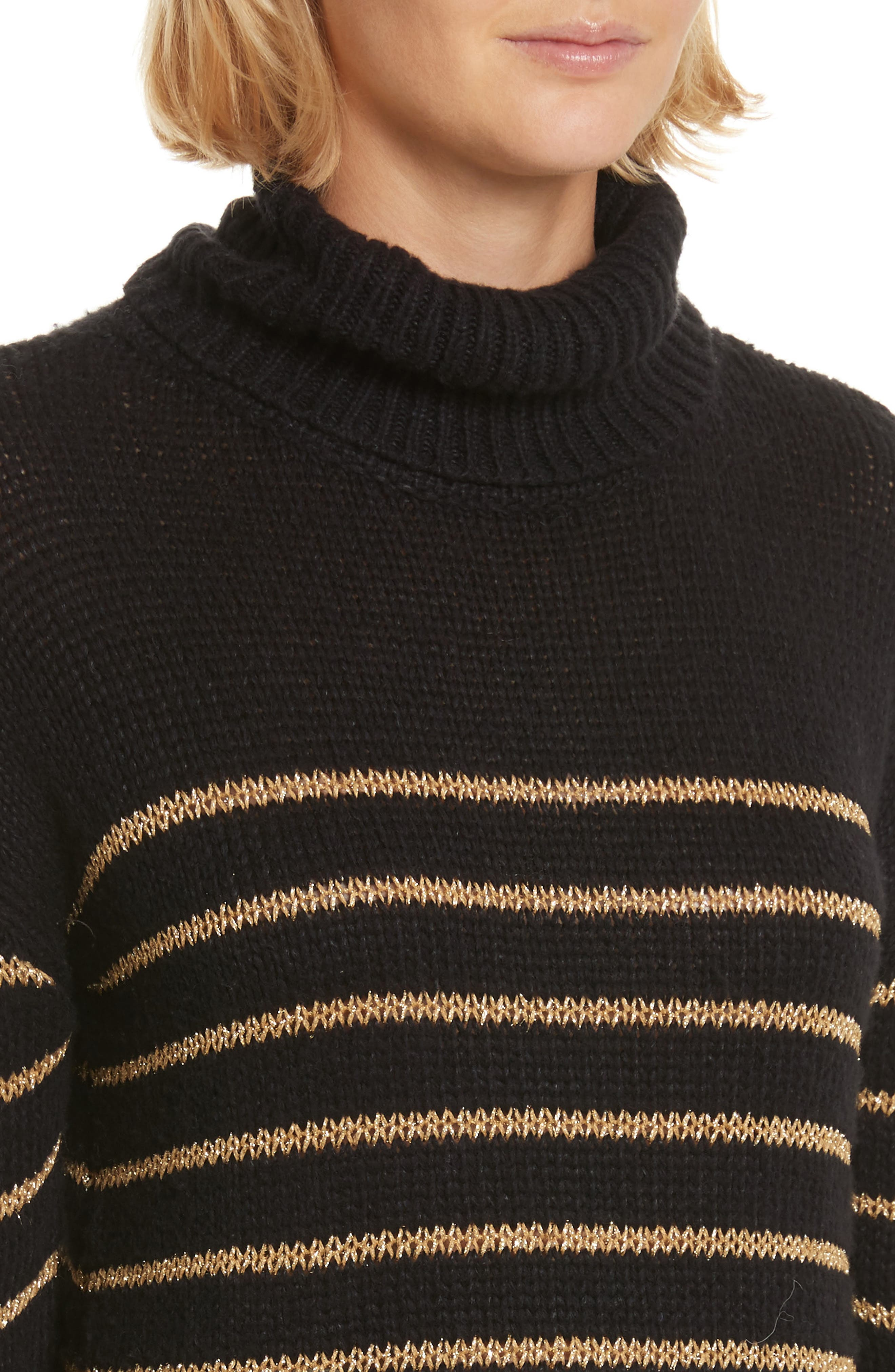 Alternate Image 4  - A.L.C. Elisa Metallic Stripe Turtleneck Sweater