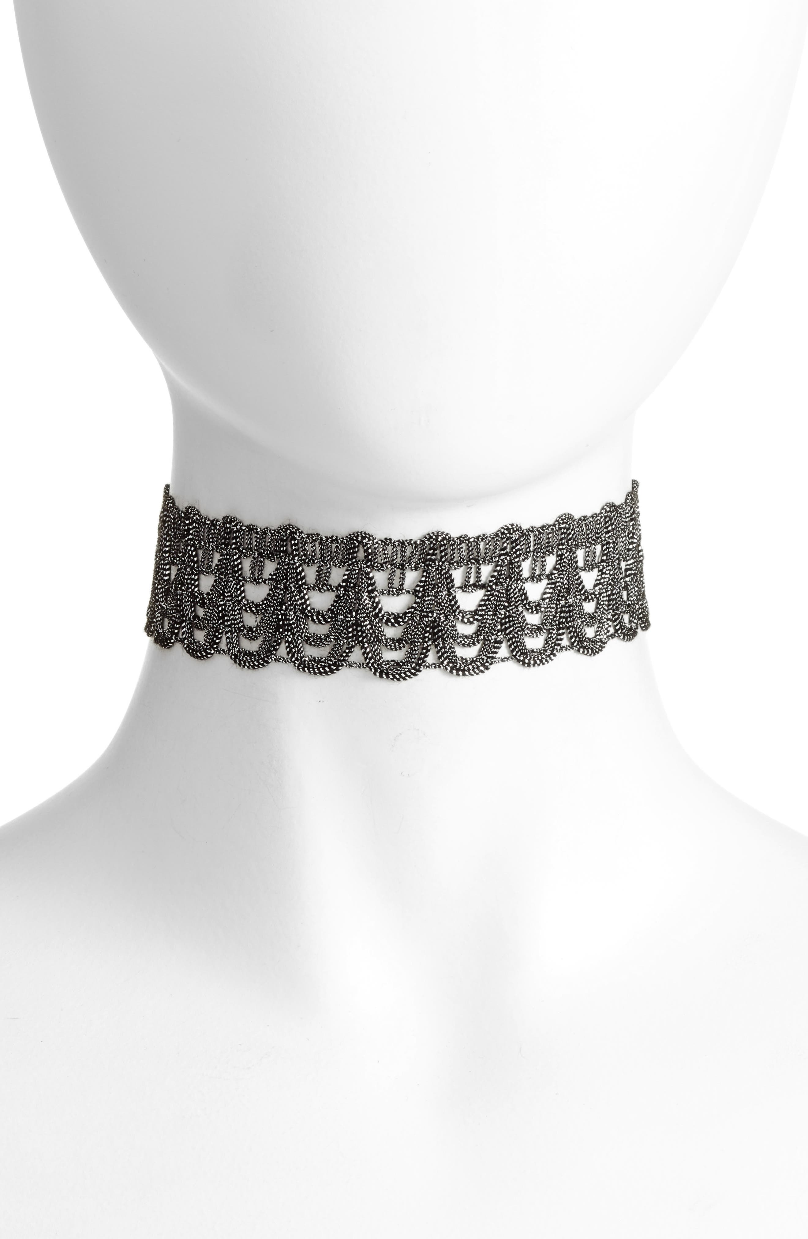 Metallic Choker,                         Main,                         color, Pewter