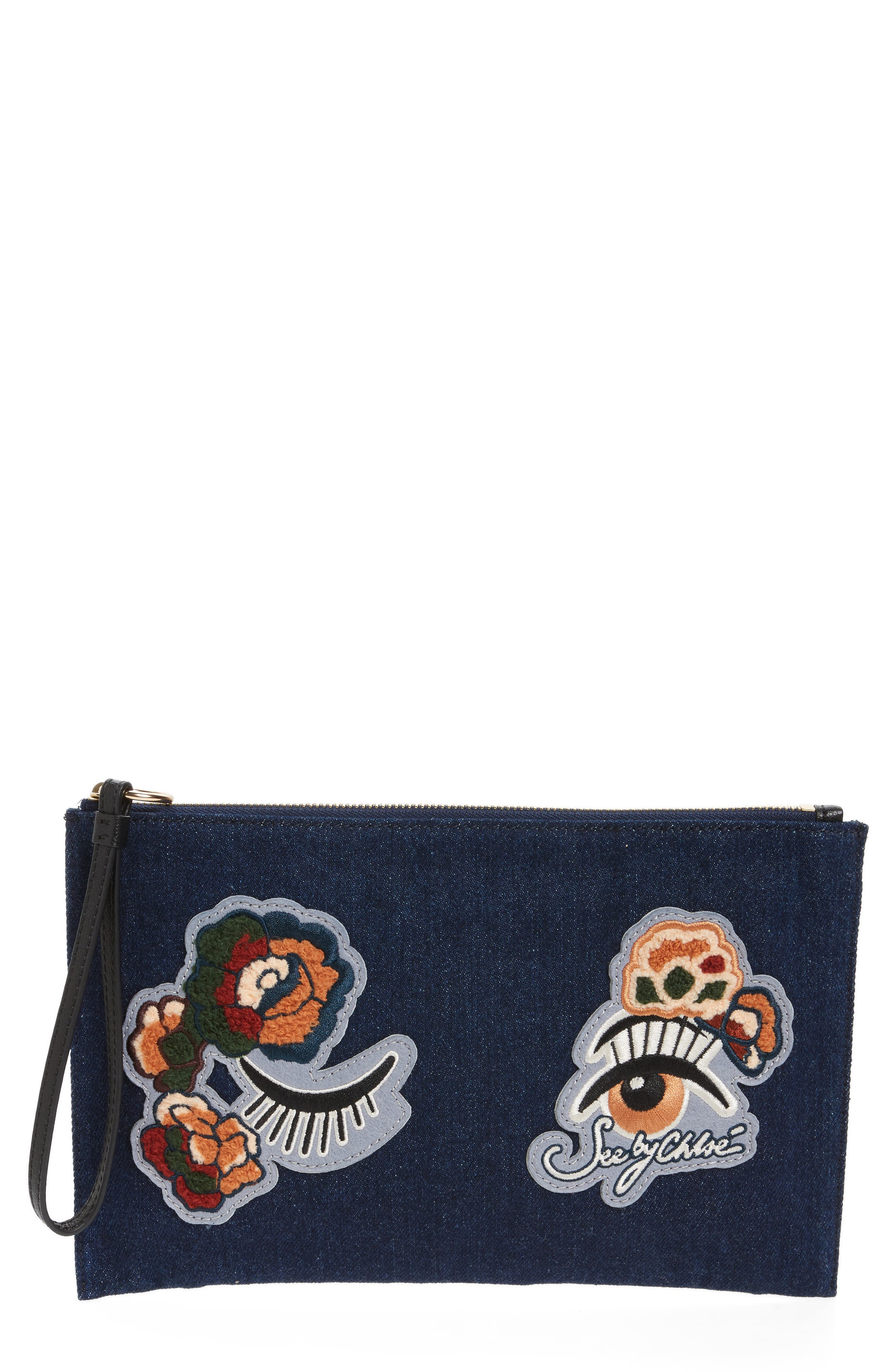 Main Image - See by Chloé Andy Appliqué Denim Pouch