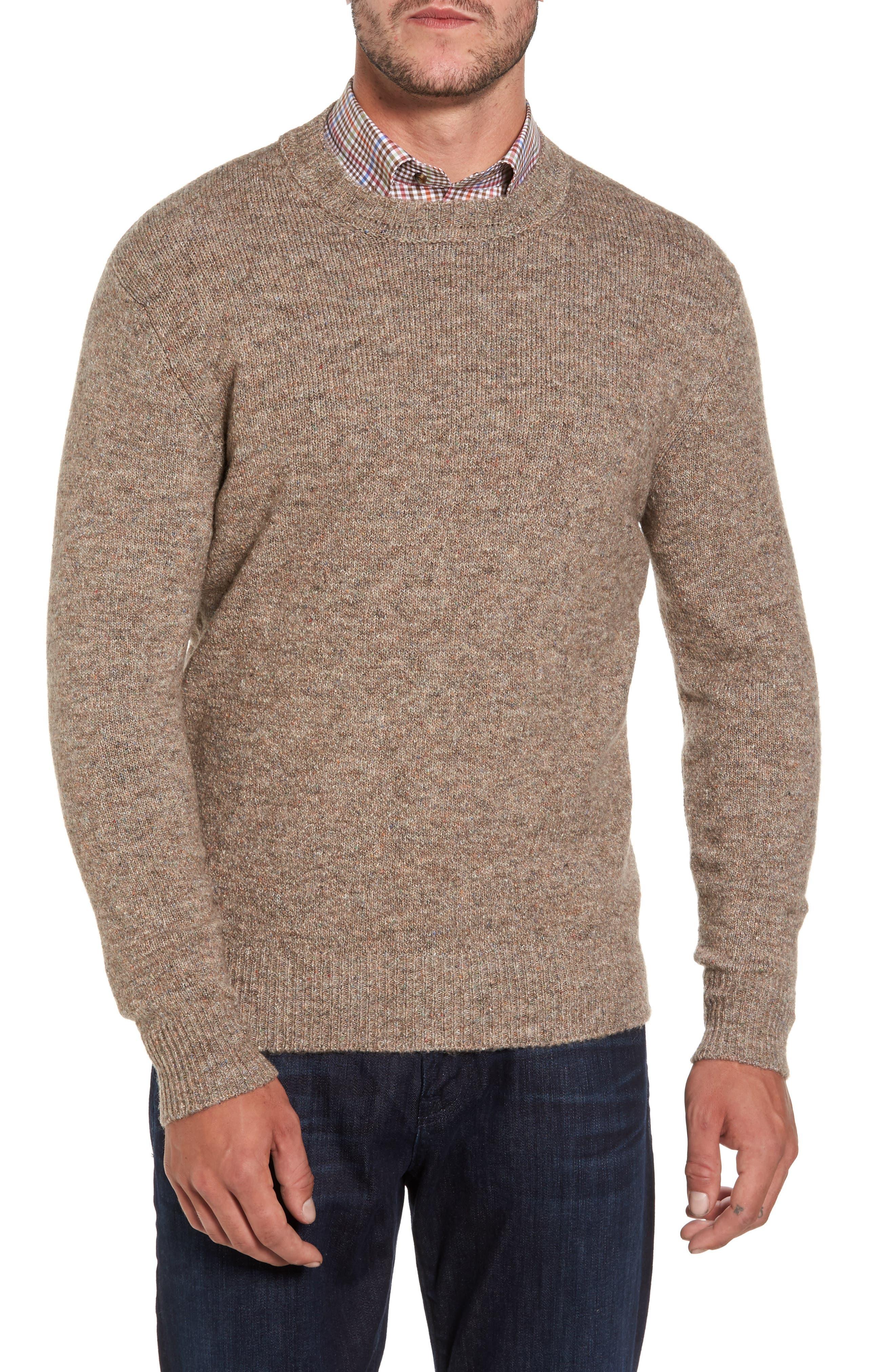 Tweed Crewneck Sweater,                             Main thumbnail 1, color,                             Sand