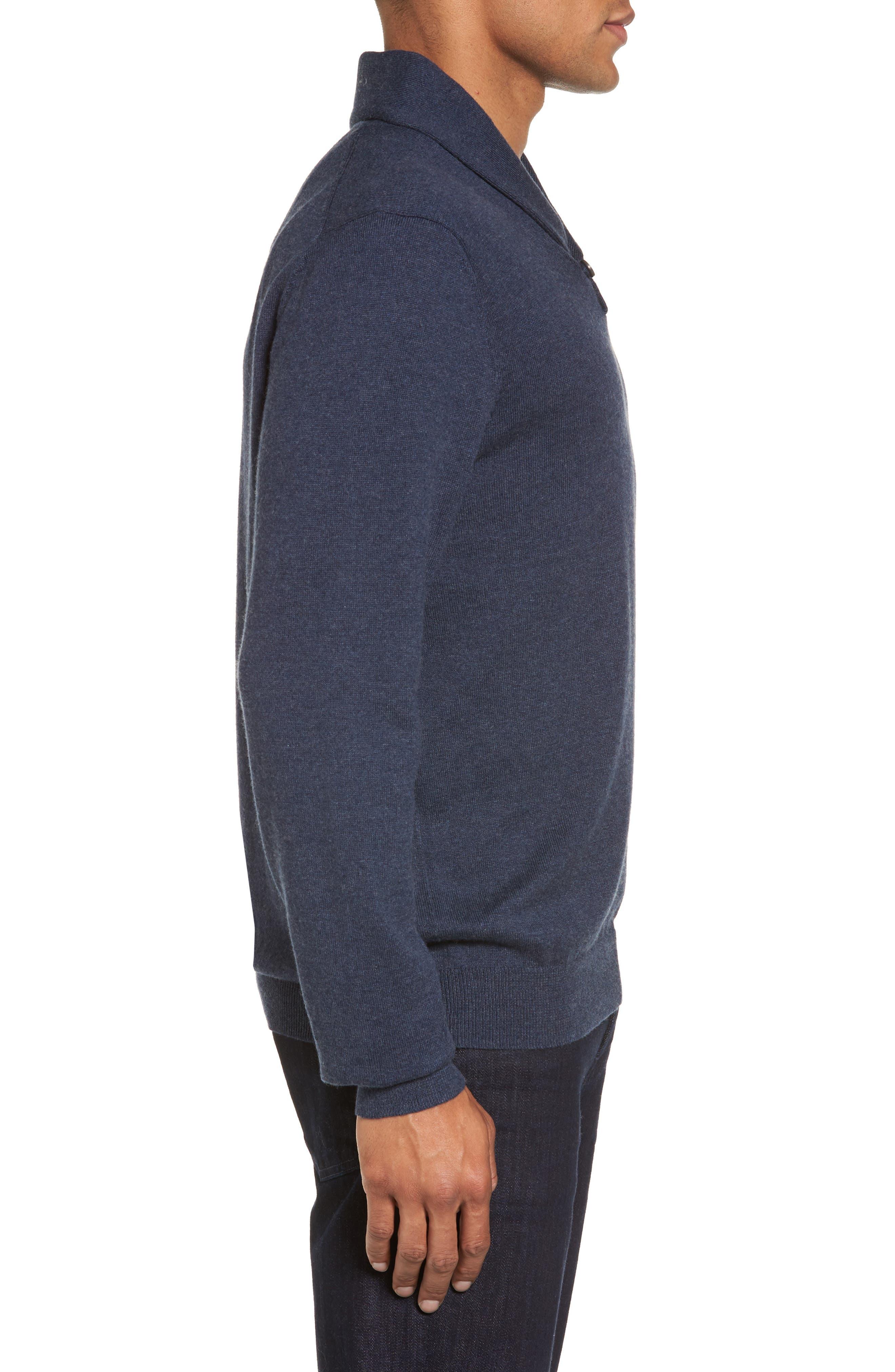 Men's Shop Shawl Collar Sweater,                             Alternate thumbnail 3, color,                             Blue Estate Heather