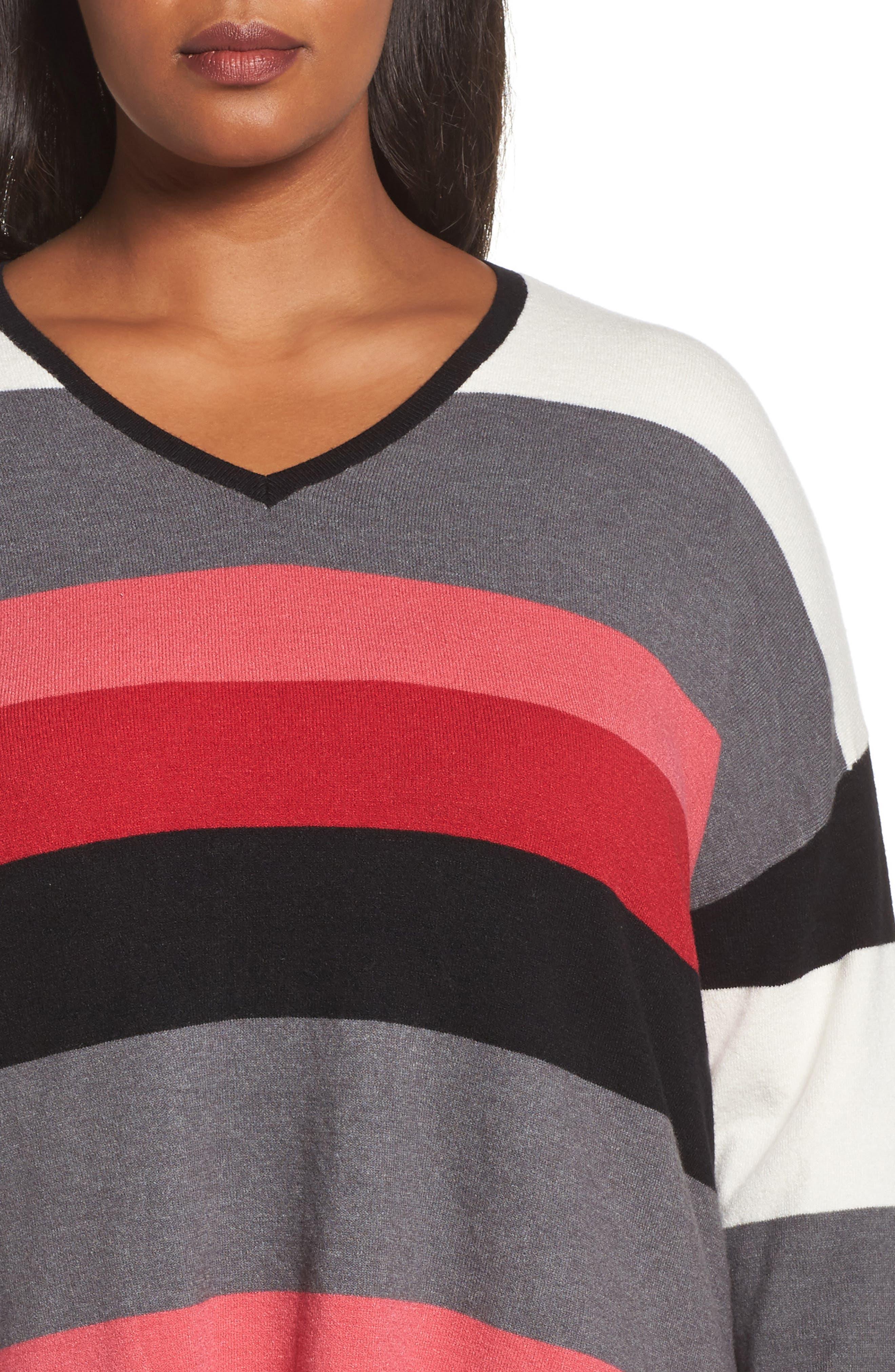 V-Neck Drop Shoulder Pullover,                             Alternate thumbnail 4, color,                             Red Multi Pop Stripe