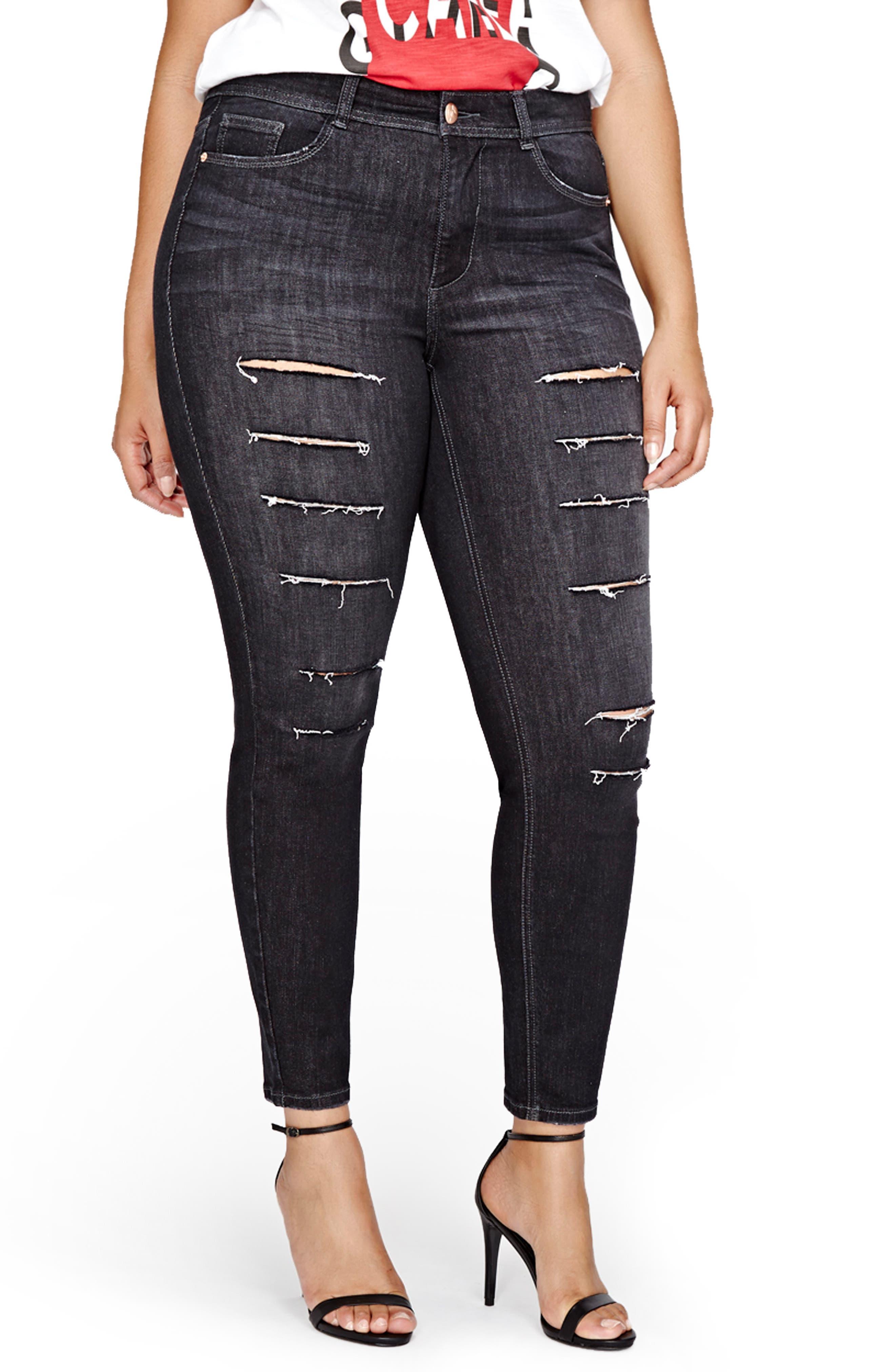 Alternate Image 1 Selected - ADDITION ELLE LOVE AND LEGEND Slash Skinny Jeans (Plus Size)