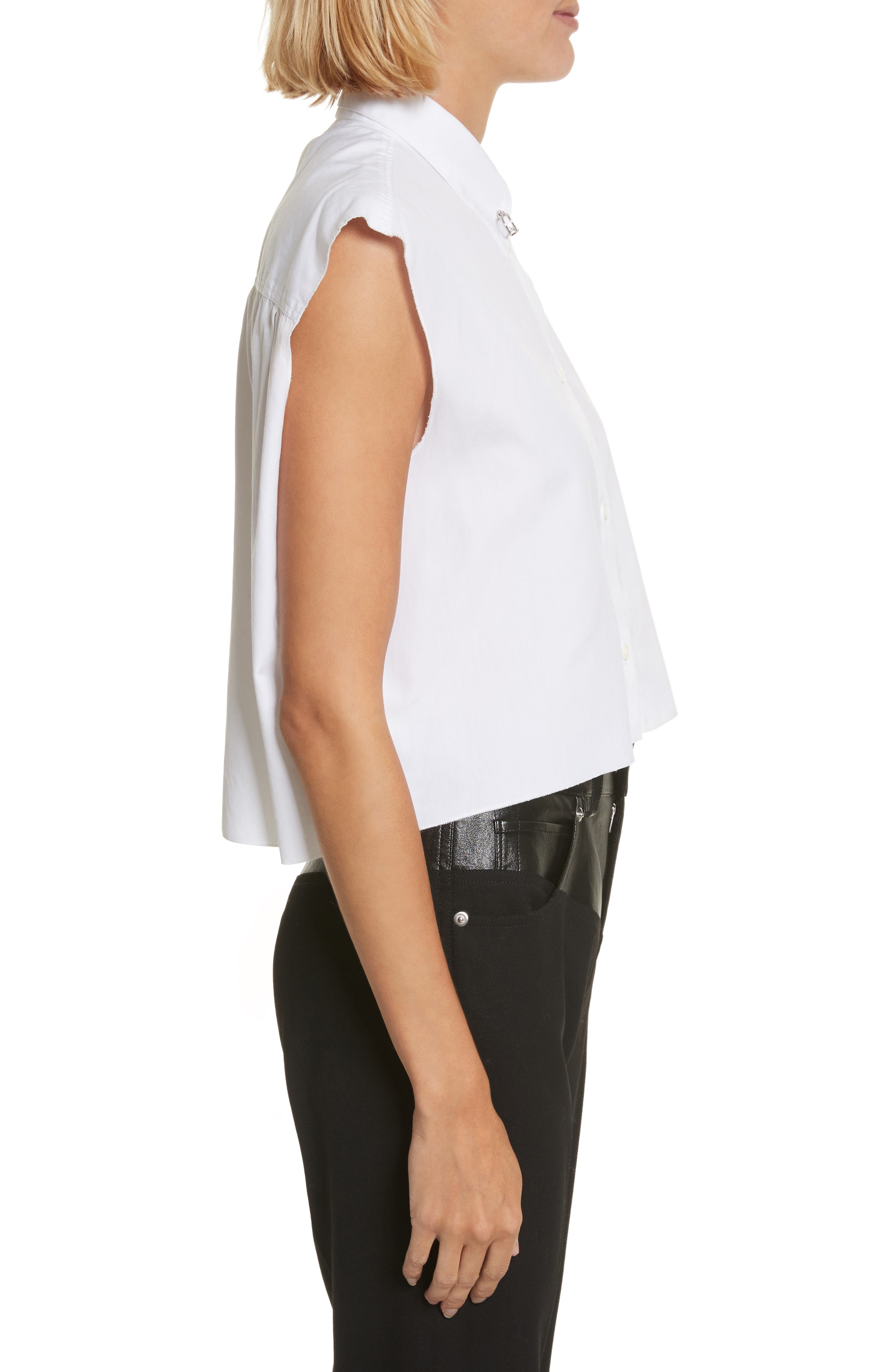 Alternate Image 3  - Helmut Lang Safety Pin Cotton Poplin Crop Top