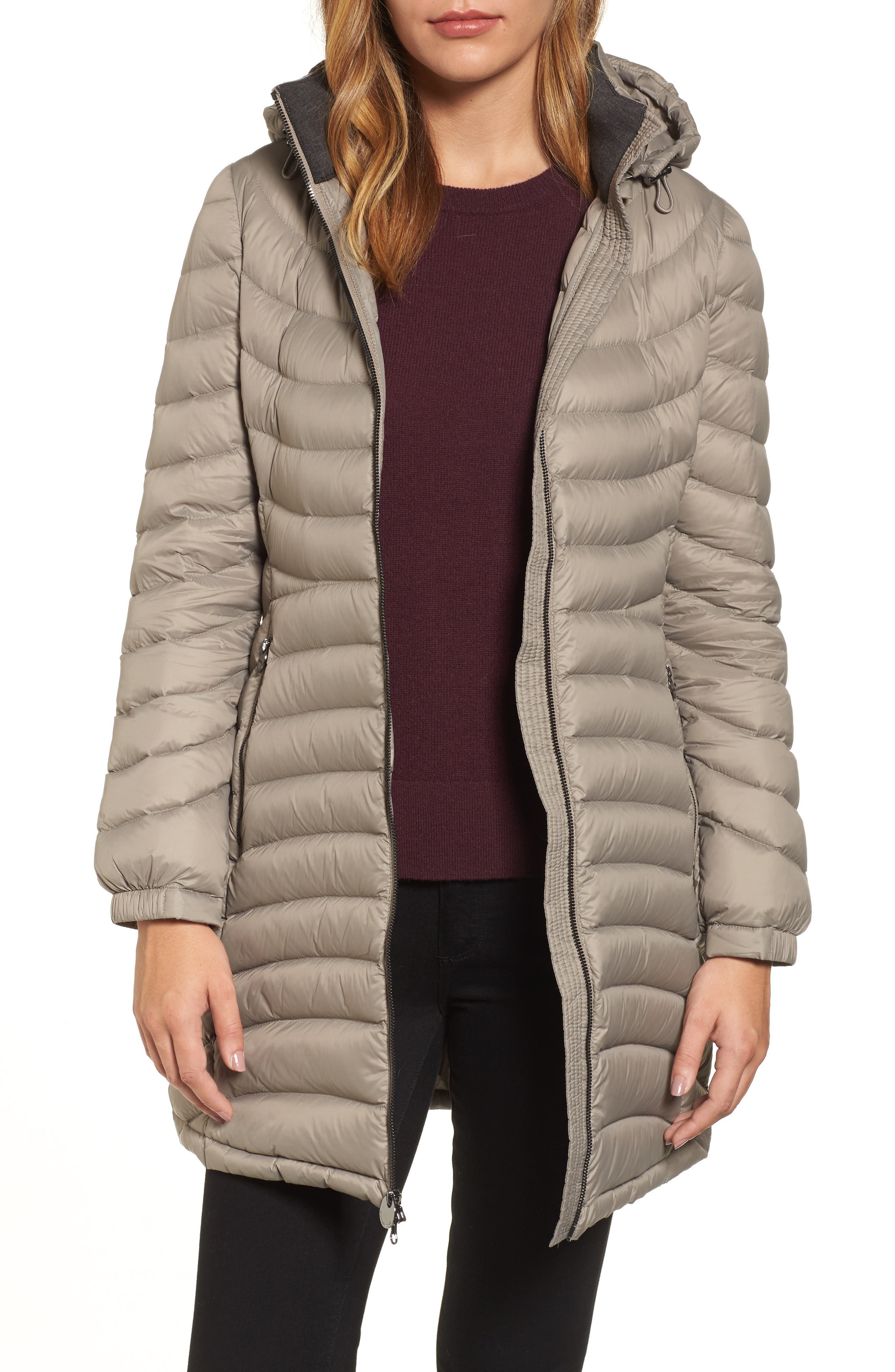 Hooded Down Coat,                         Main,                         color, Taupe